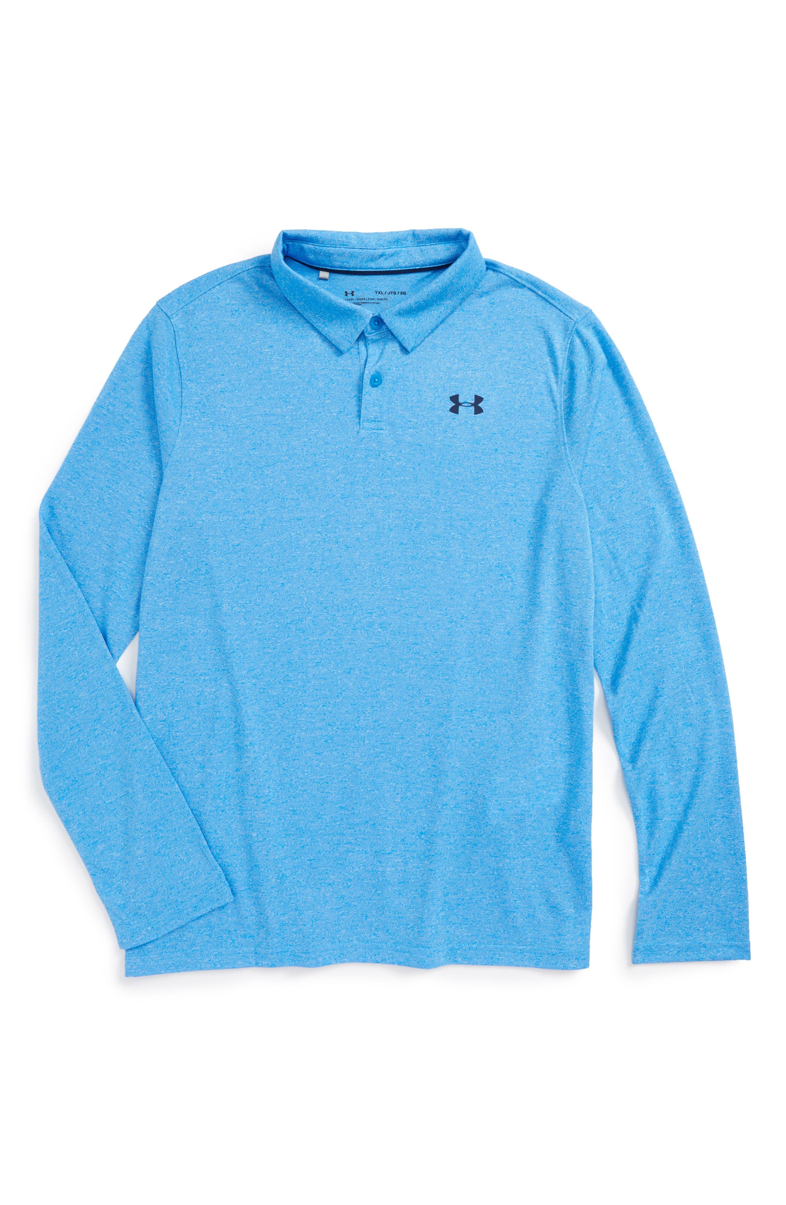 Threadborne<sup>™</sup> Long Sleeve Polo,                         Main,                         color, Mako Blue/ Academy