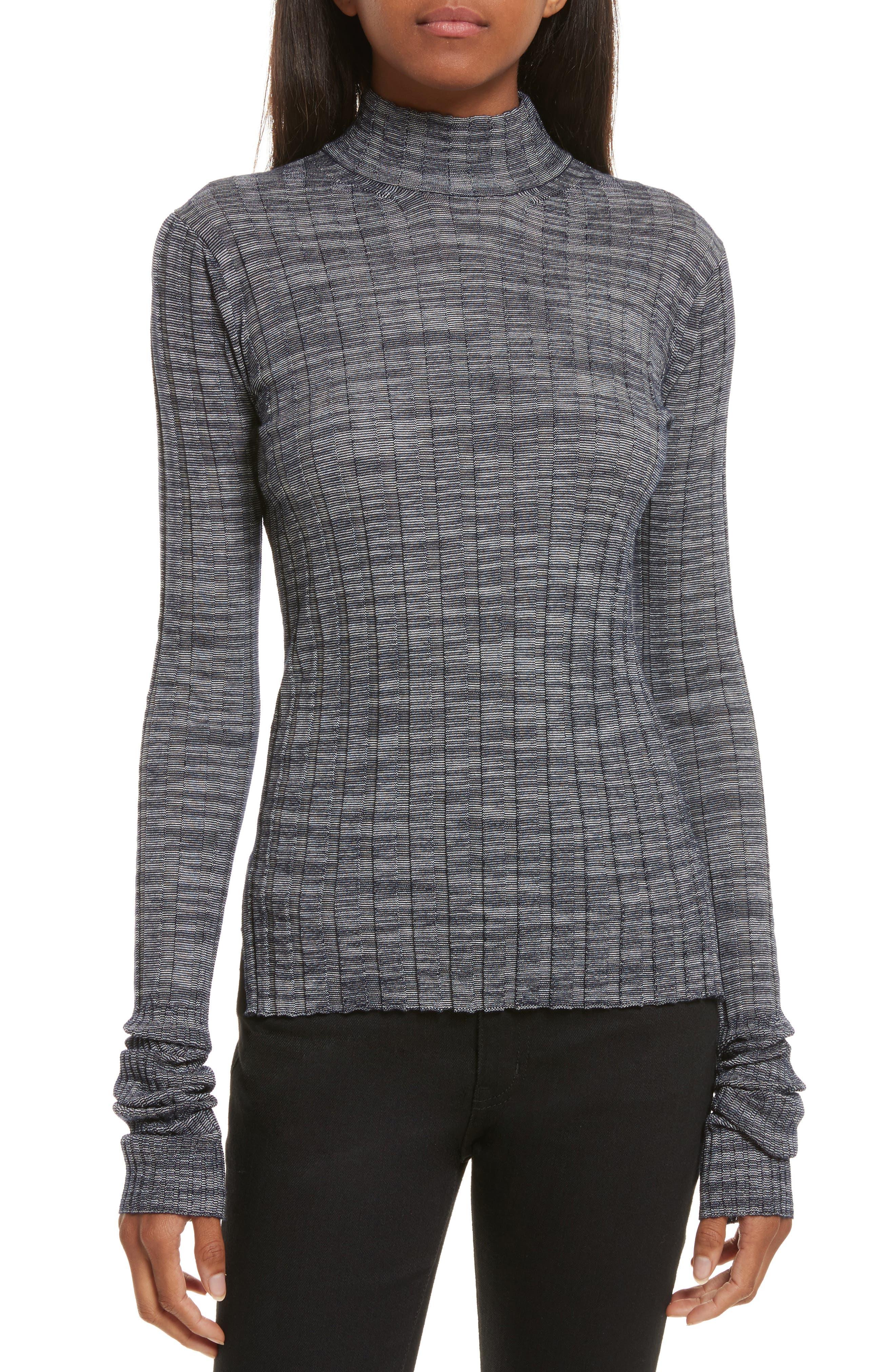Main Image - Theory Wide Ribbed Metallic Merino Wool Sweater