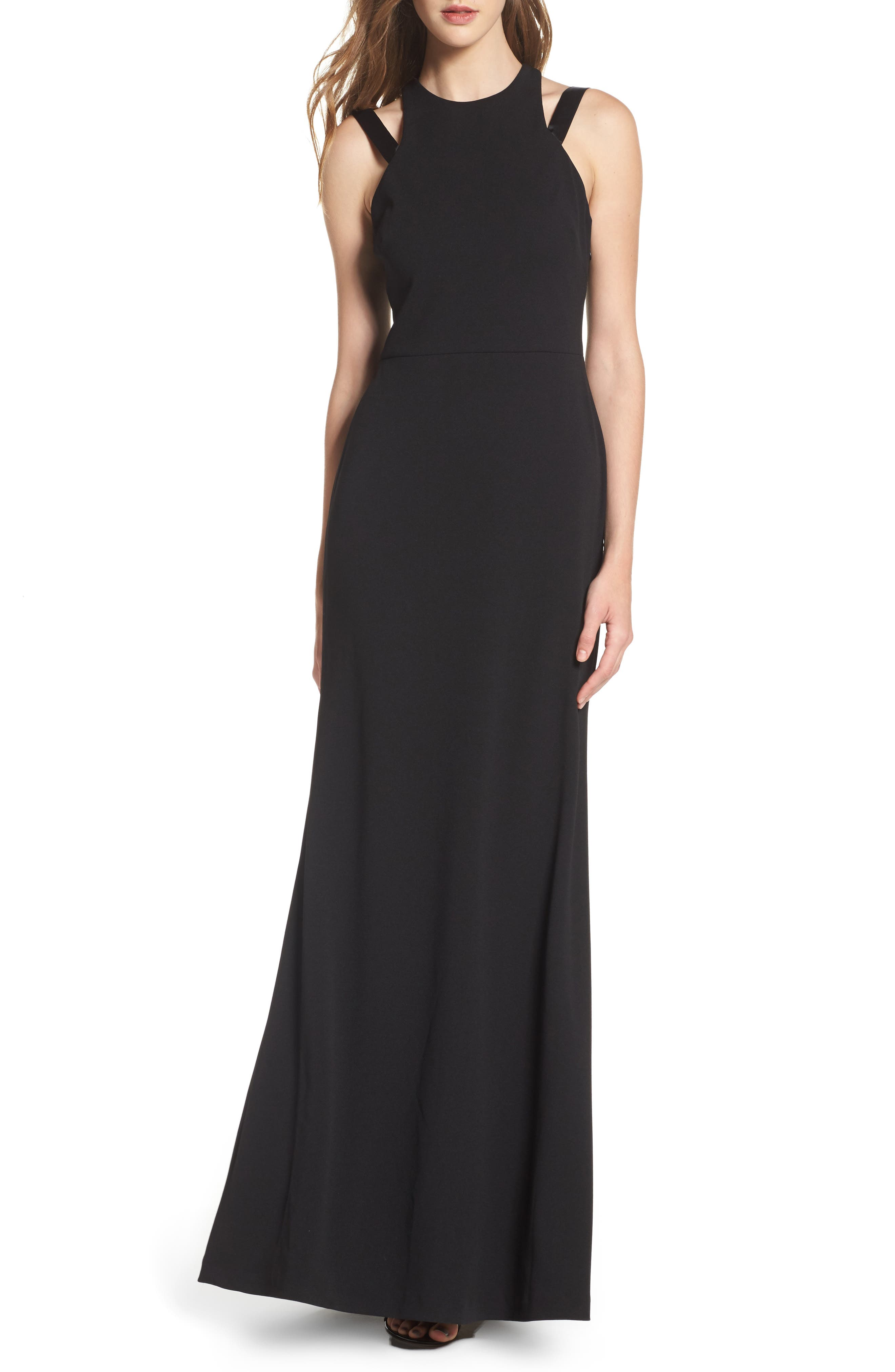 High Neck Strappy Gown,                         Main,                         color, Black