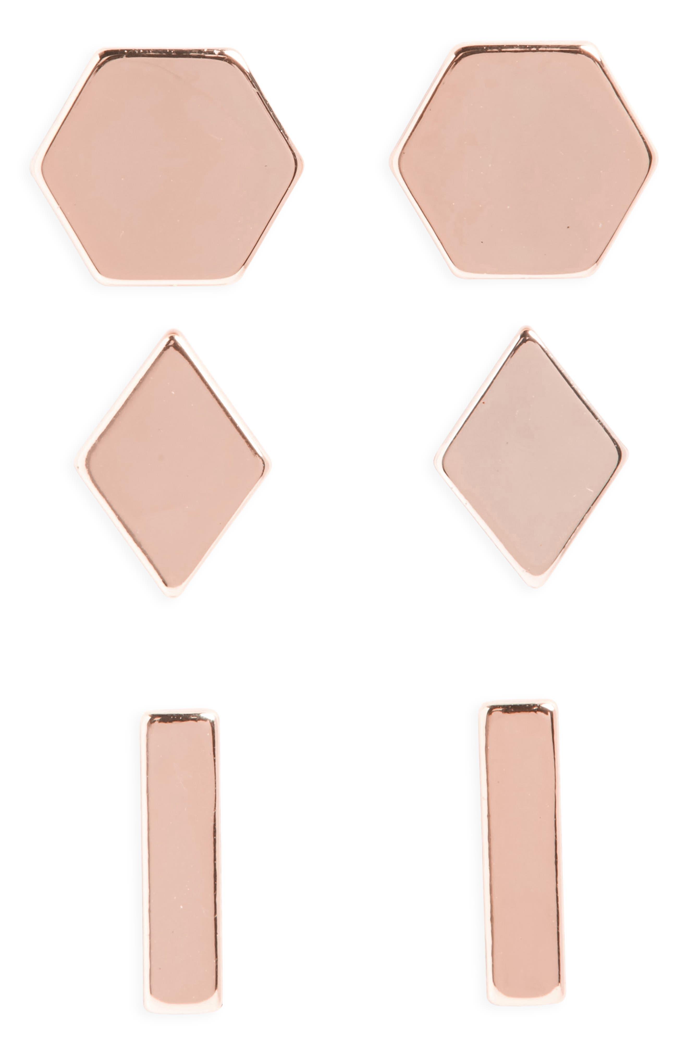 HALOGEN<SUP>®</SUP> Set of 3 Stud Earrings