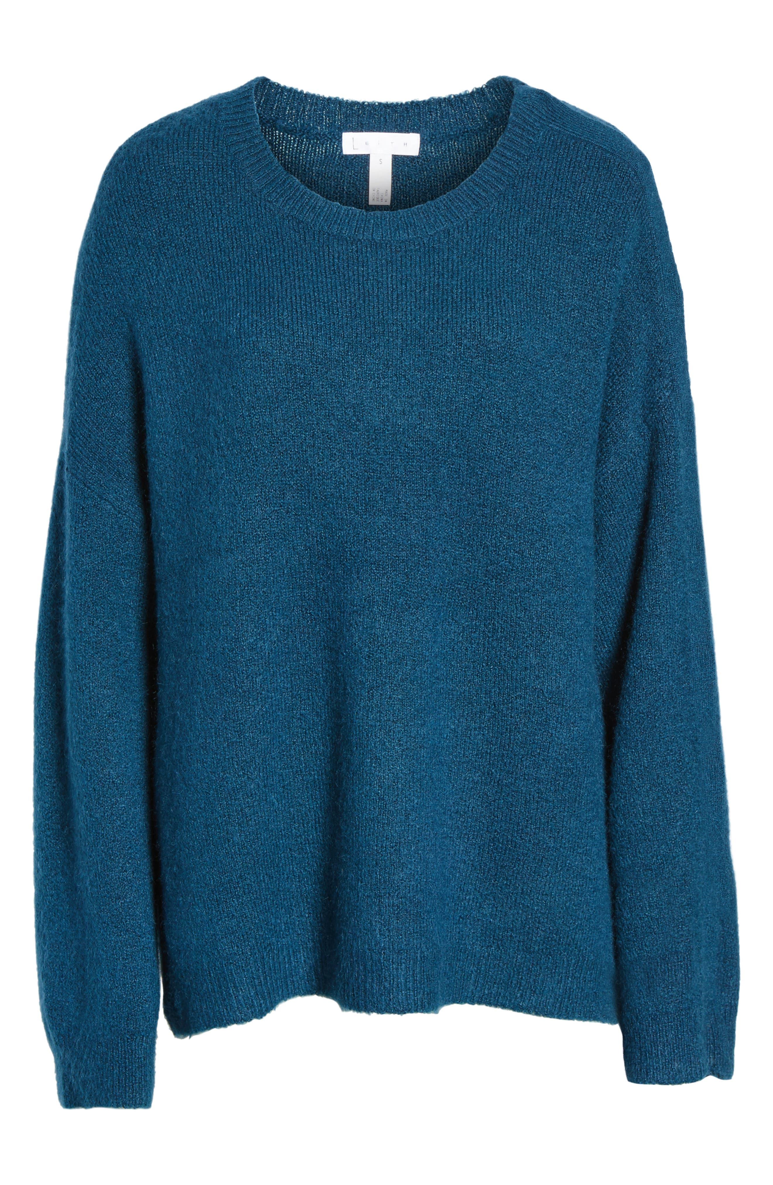 Snap Shoulder Sweater,                             Alternate thumbnail 5, color,                             Blue Ceramic
