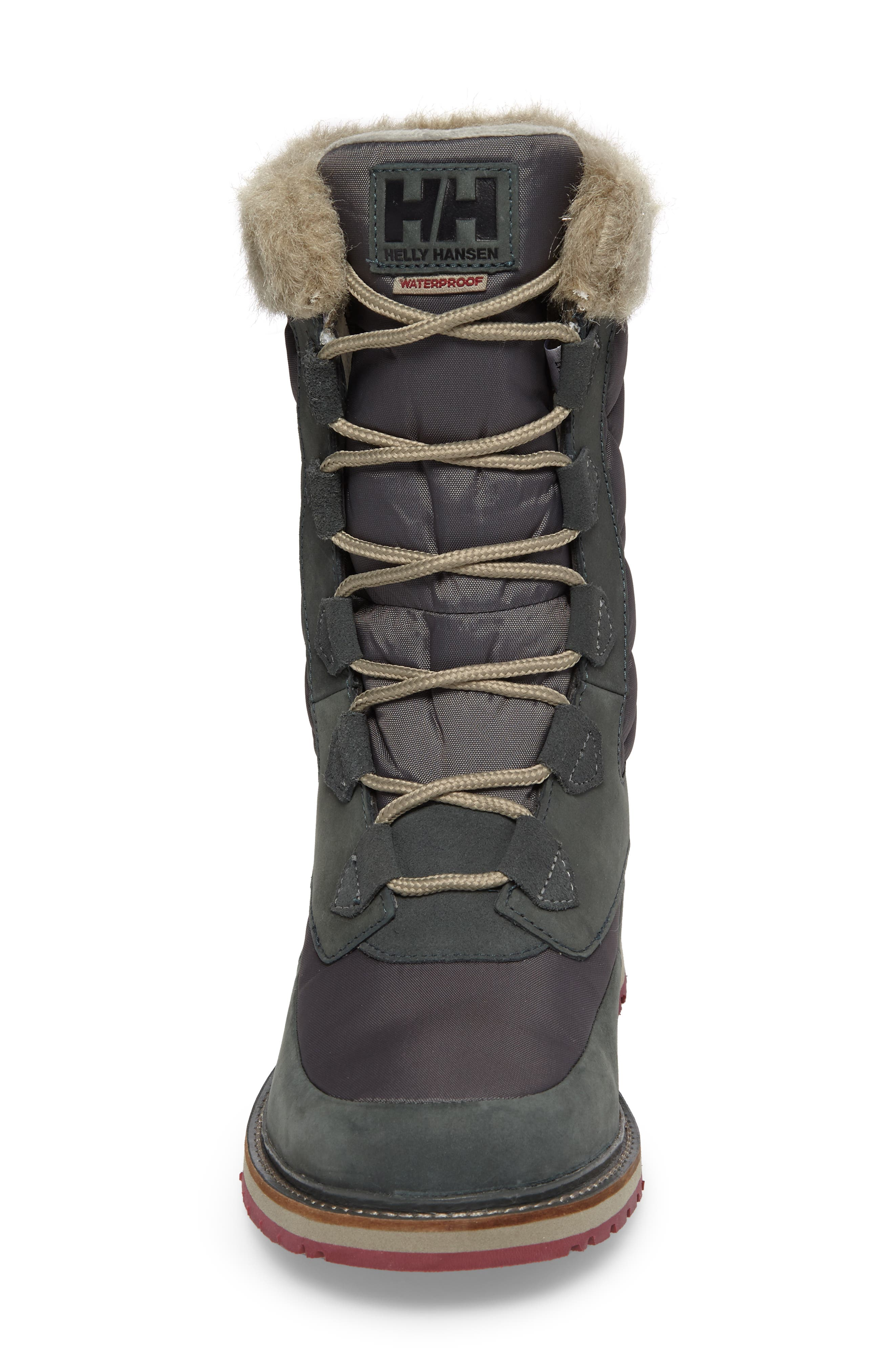 Arosa Waterproof Boot with Faux Fur Trim,                             Alternate thumbnail 4, color,                             Darkest Spruce / Rock / La