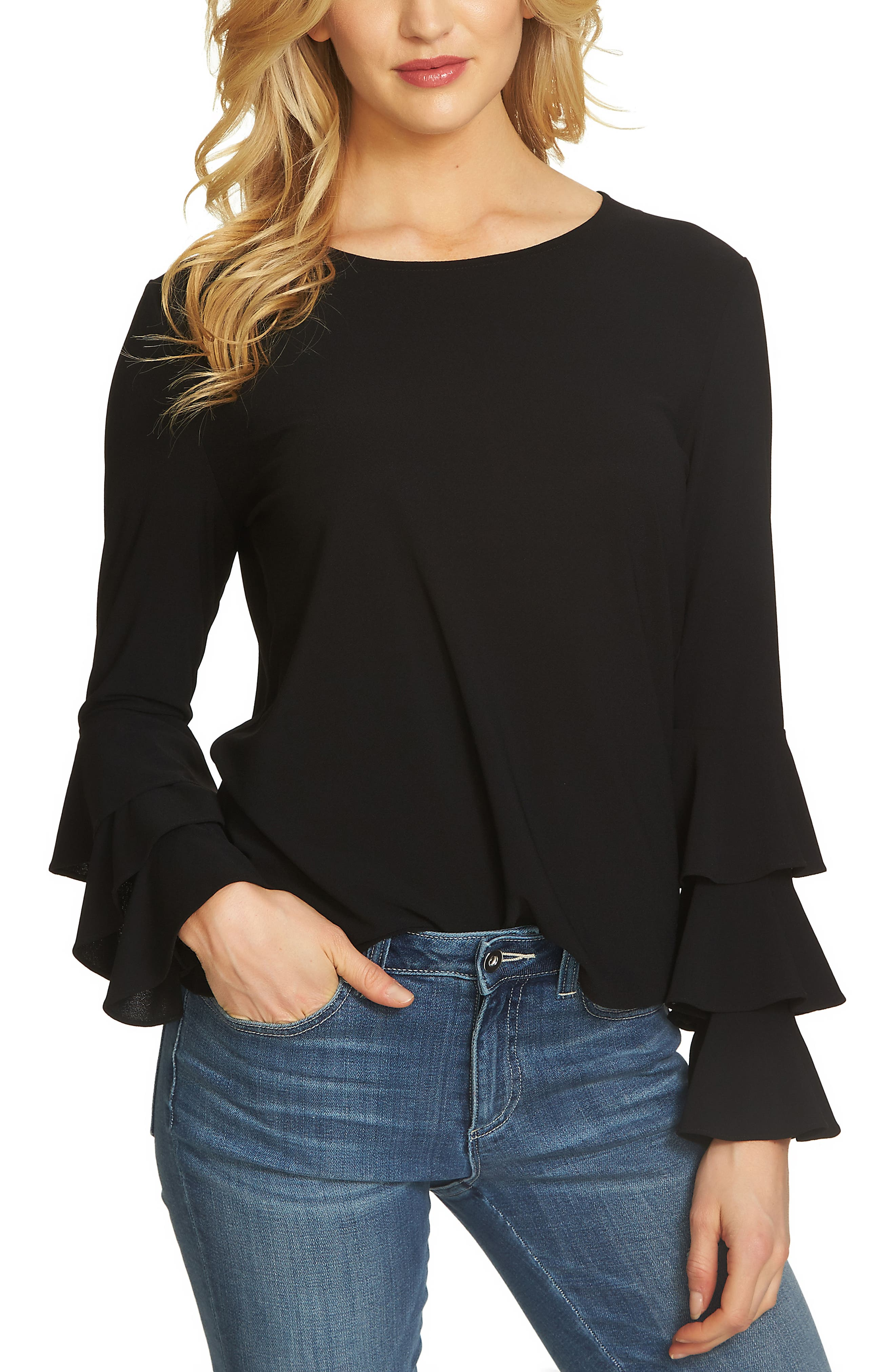 Tiered Bell Sleeve Top,                             Main thumbnail 1, color,                             Rich Black