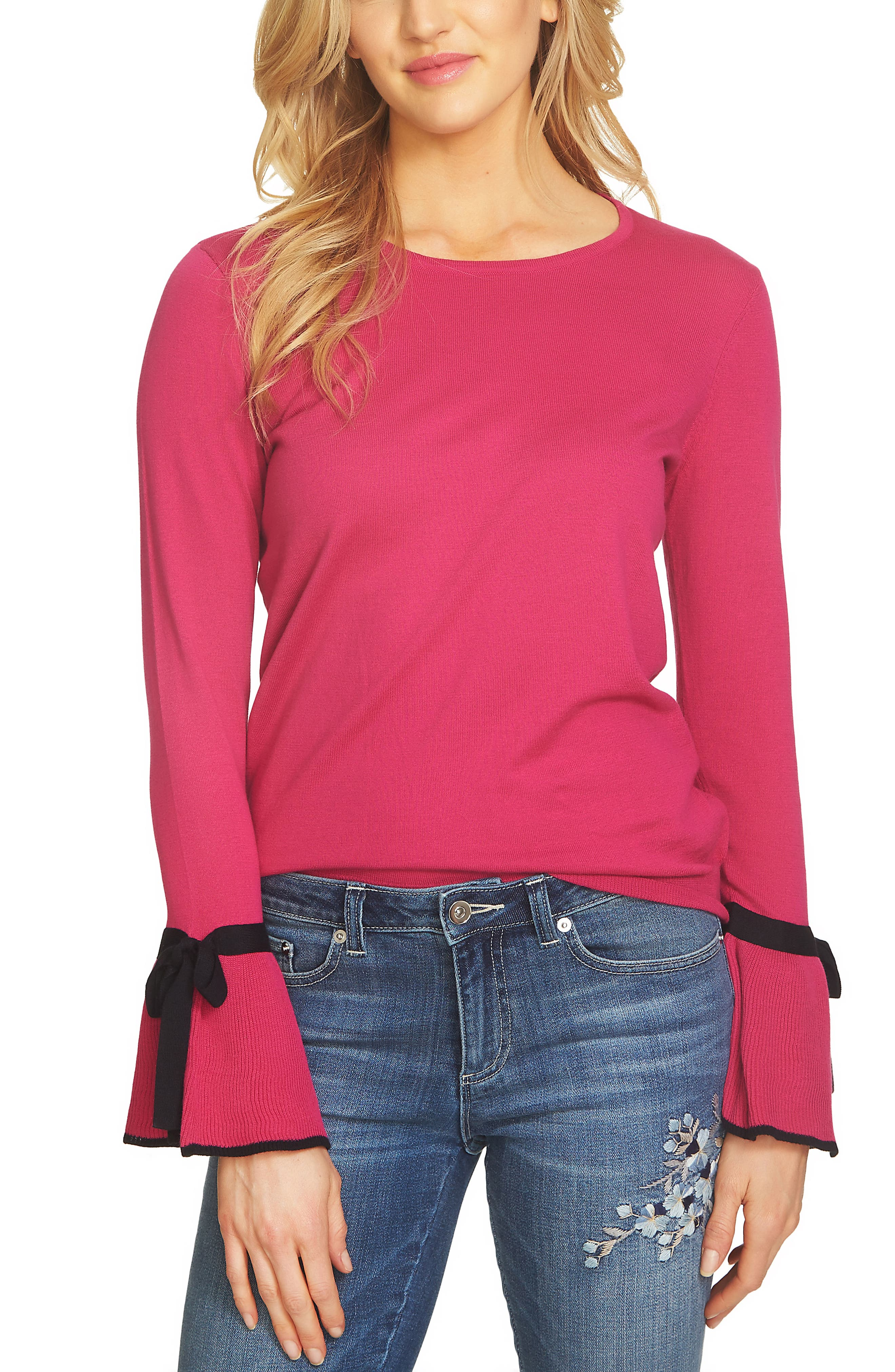 Main Image - CeCe Bow Cuff Sweater