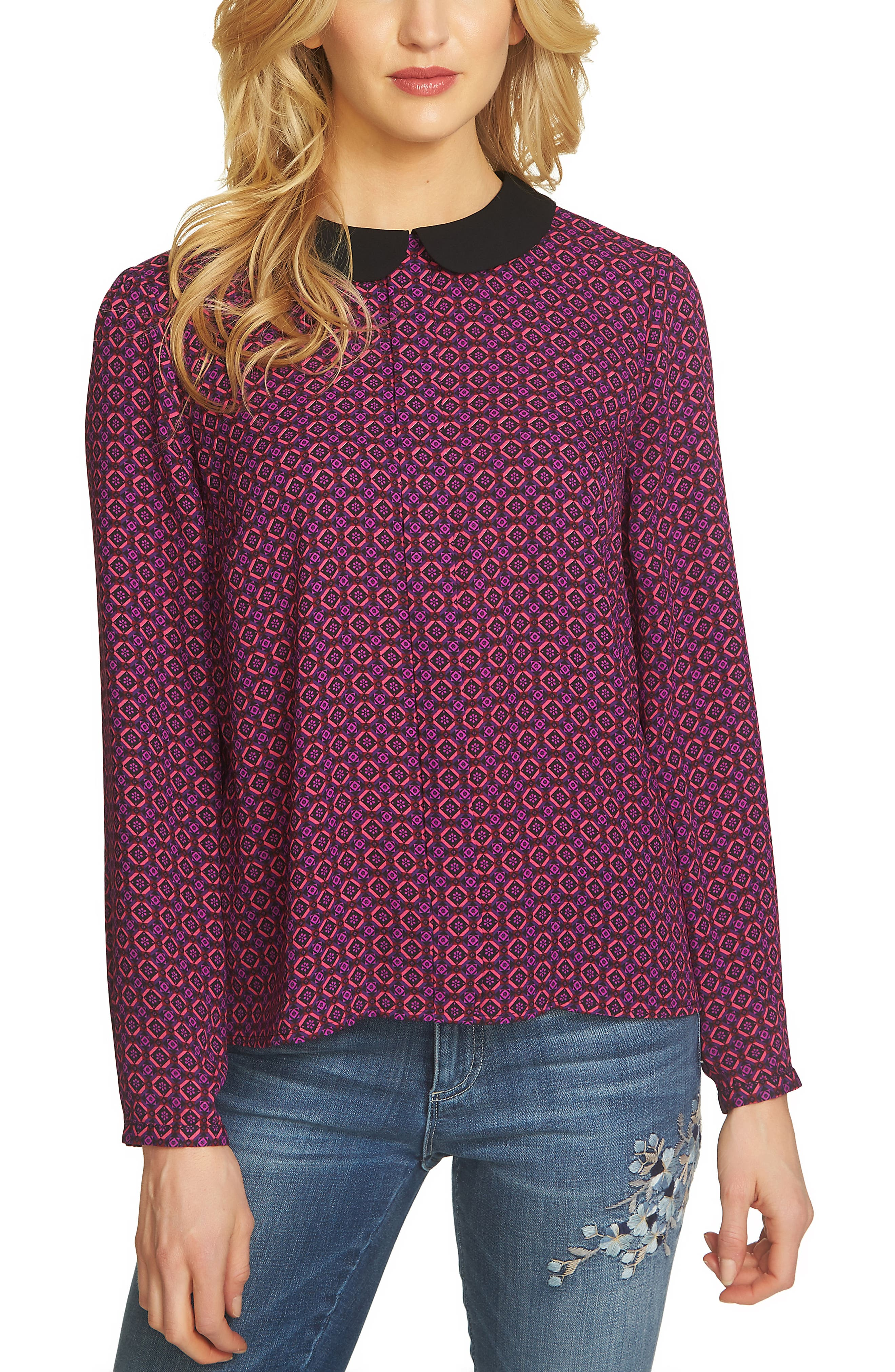 Mayfair Geo Print Blouse,                         Main,                         color, Vibrant Cerise