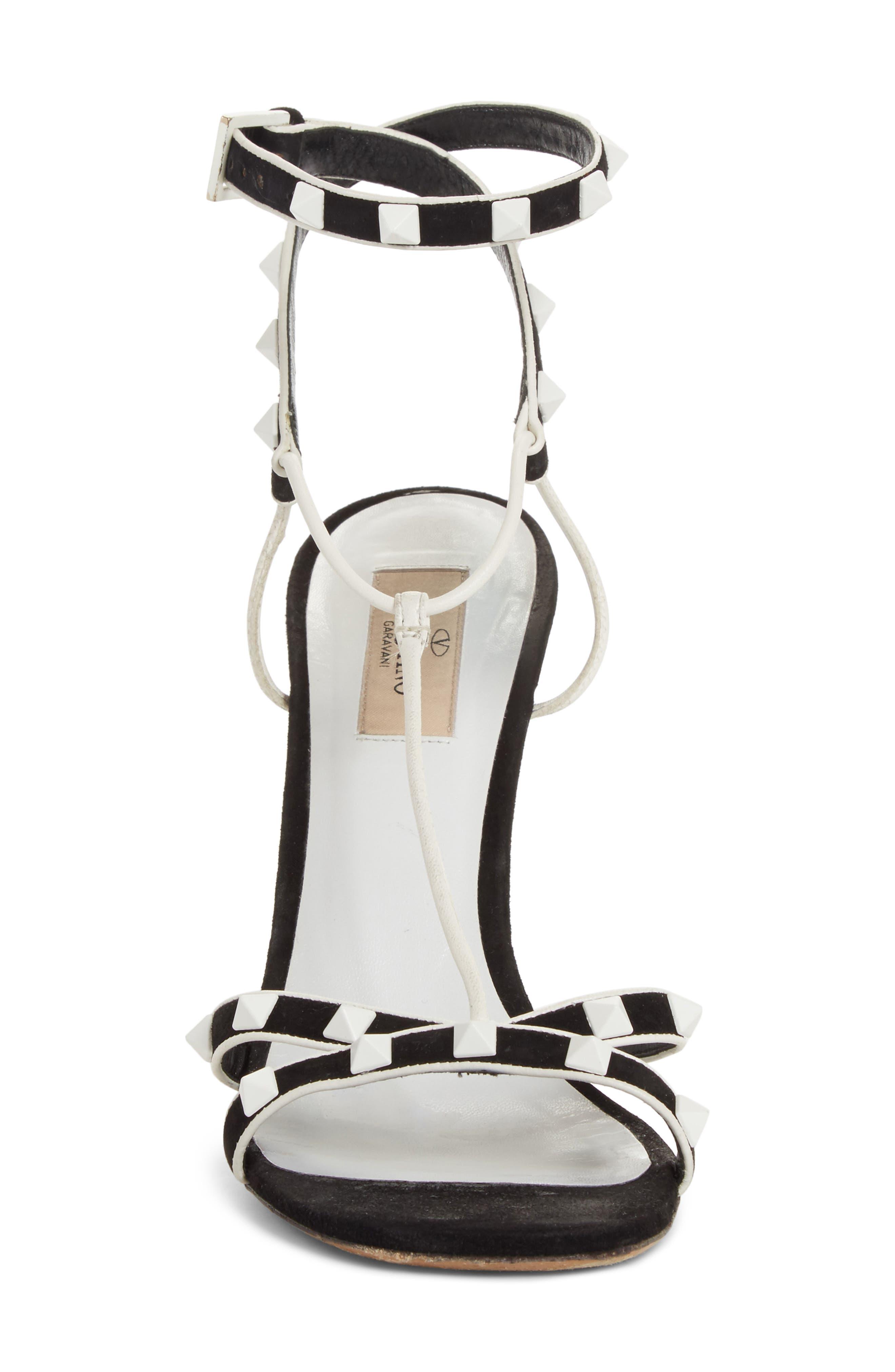 Valentino Free Rockstud T-Strap Sandal,                             Alternate thumbnail 4, color,                             Black/ White