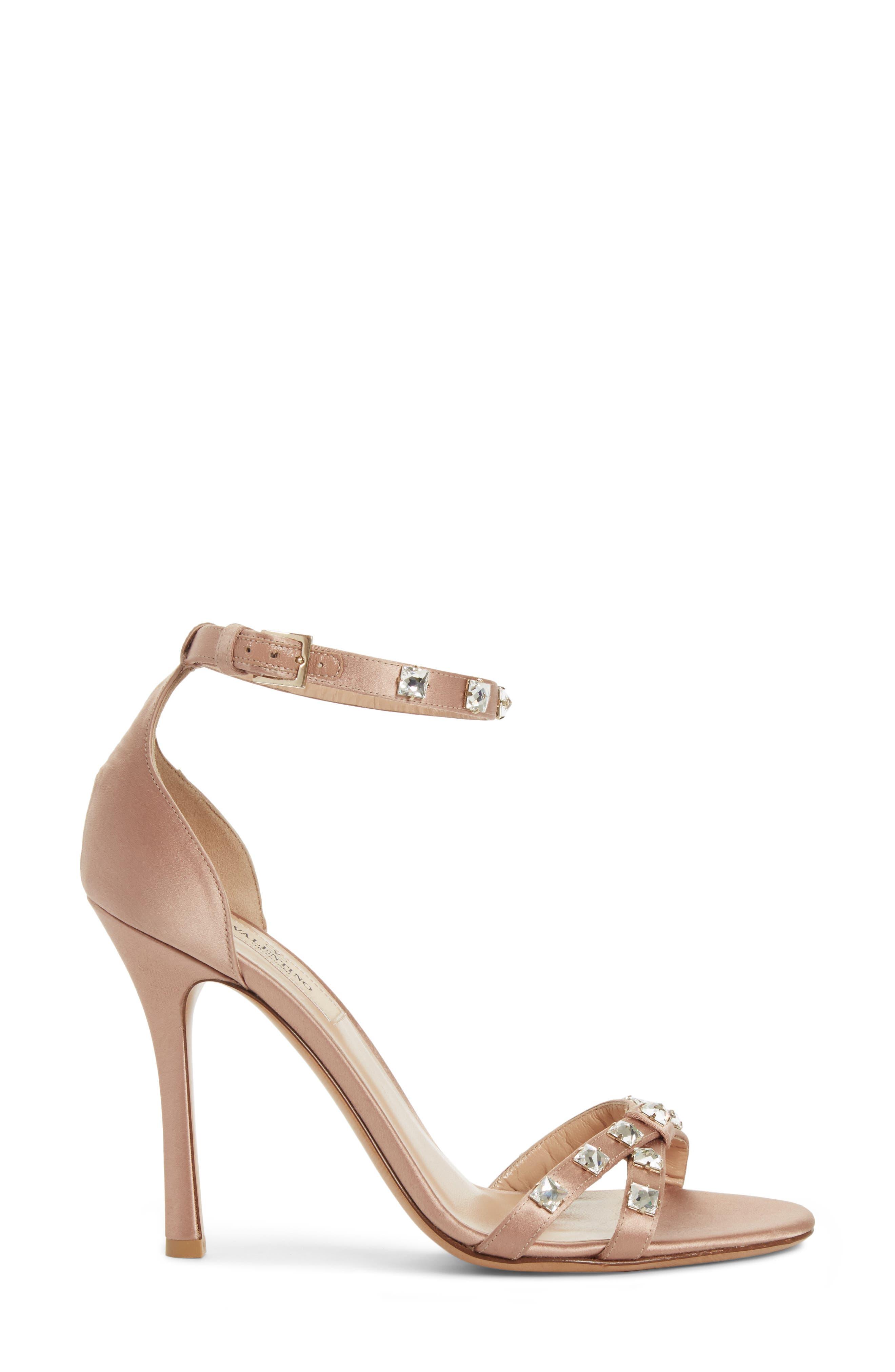 Rockstud Glam Ankle Strap Sandal,                             Alternate thumbnail 3, color,                             Beige