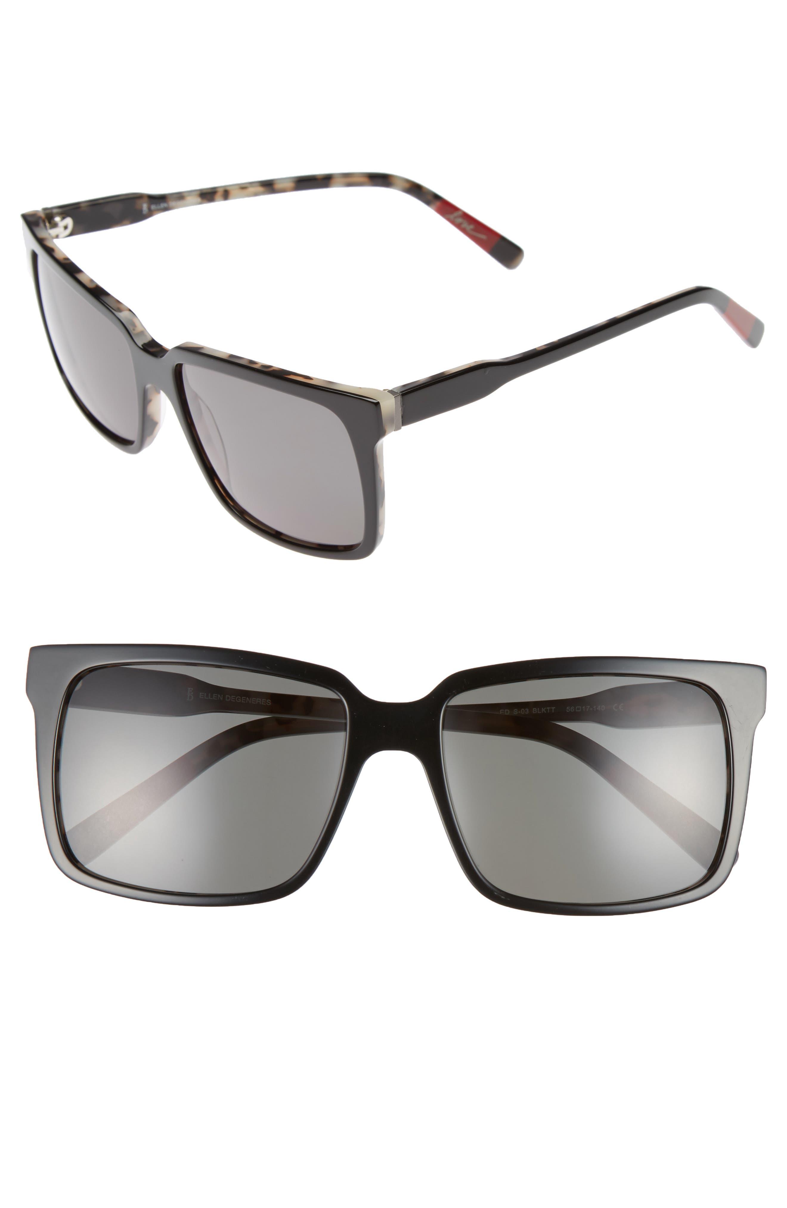 56mm Gradient Square Sunglasses,                         Main,                         color, Black Tortoise