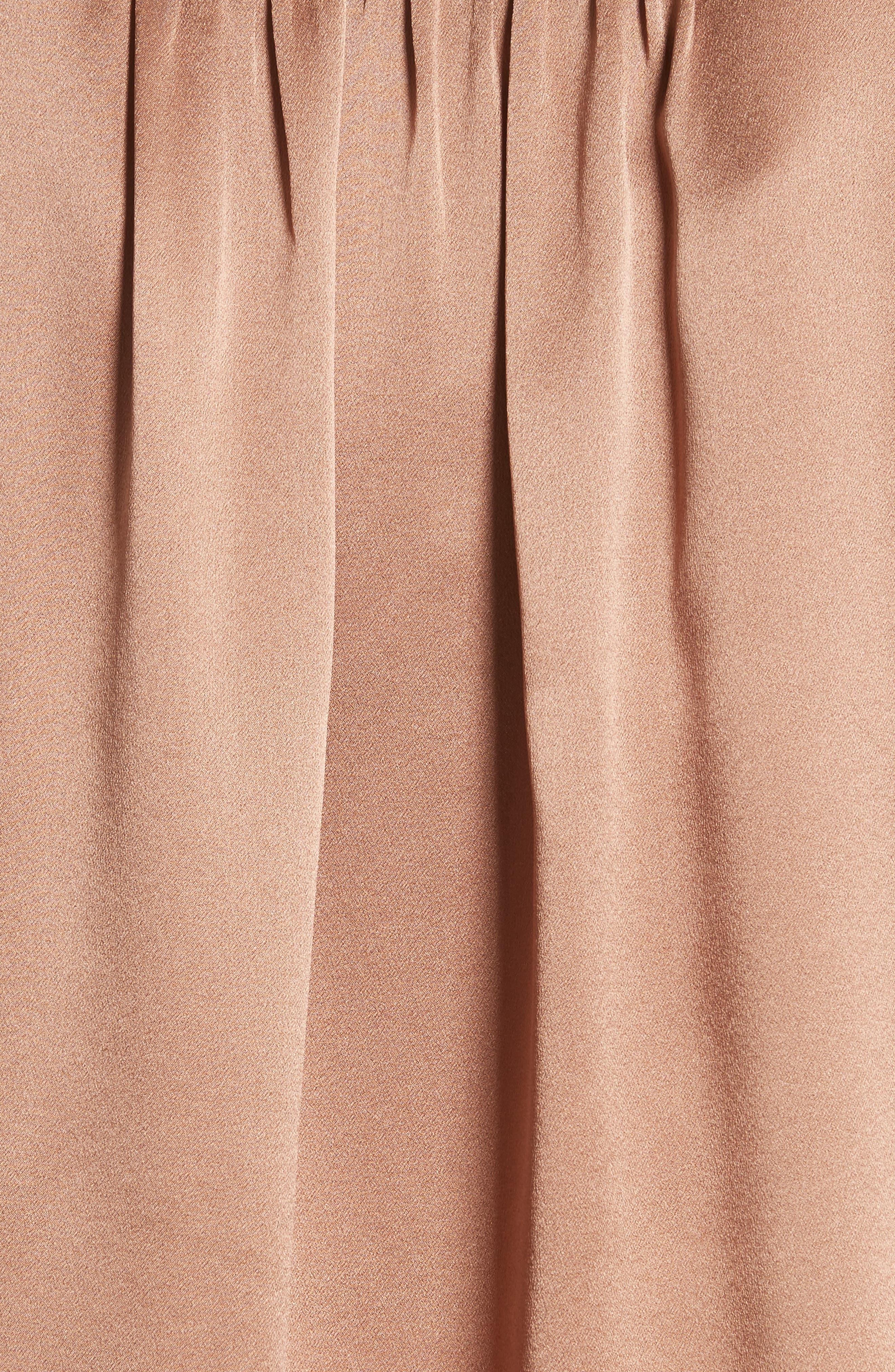 Shirred Silk Blouse,                             Alternate thumbnail 5, color,                             Tobacco