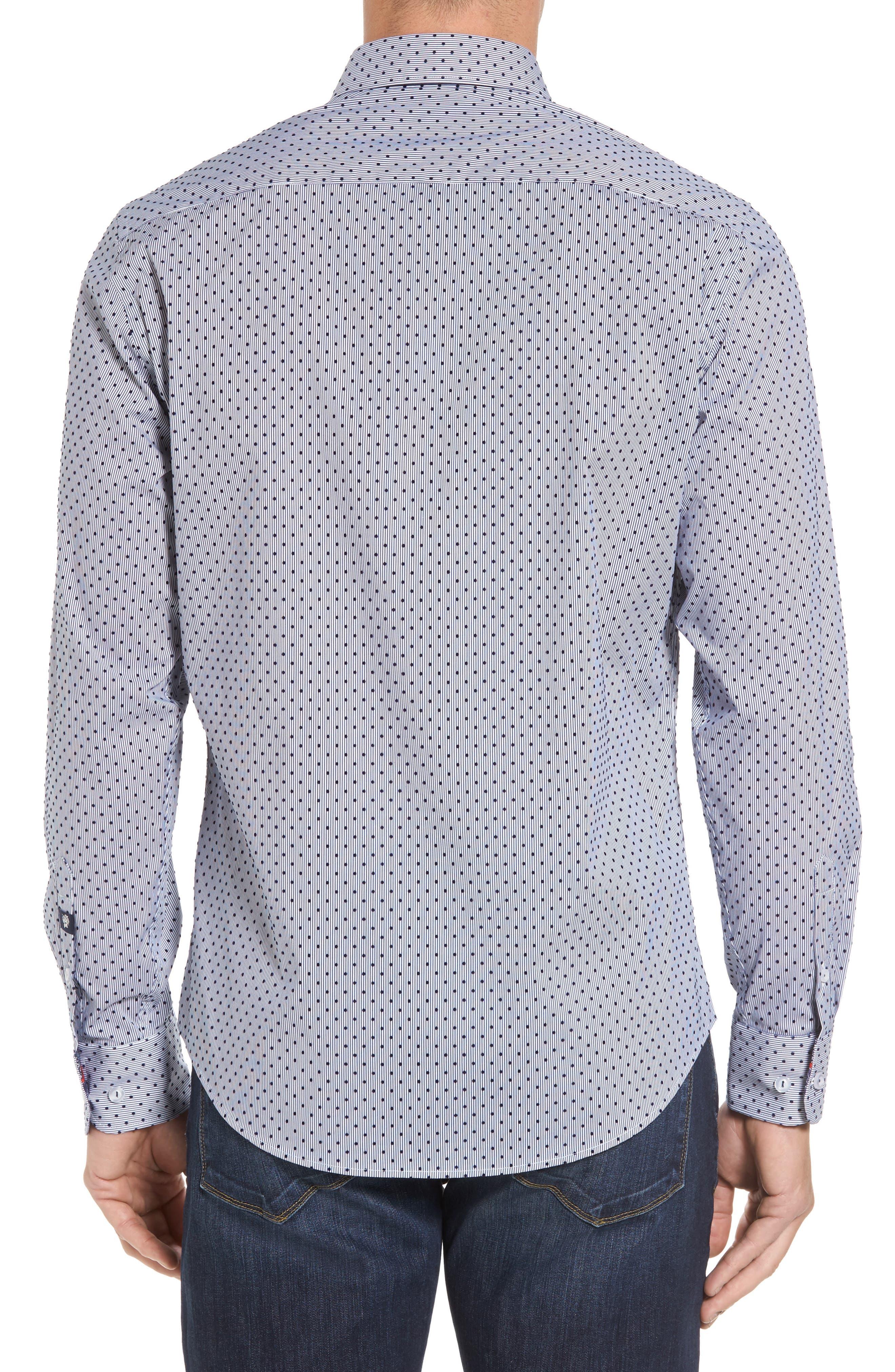 Alternate Image 2  - Stone Rose Slim Fit Flocked Dot Stripe Sport Shirt