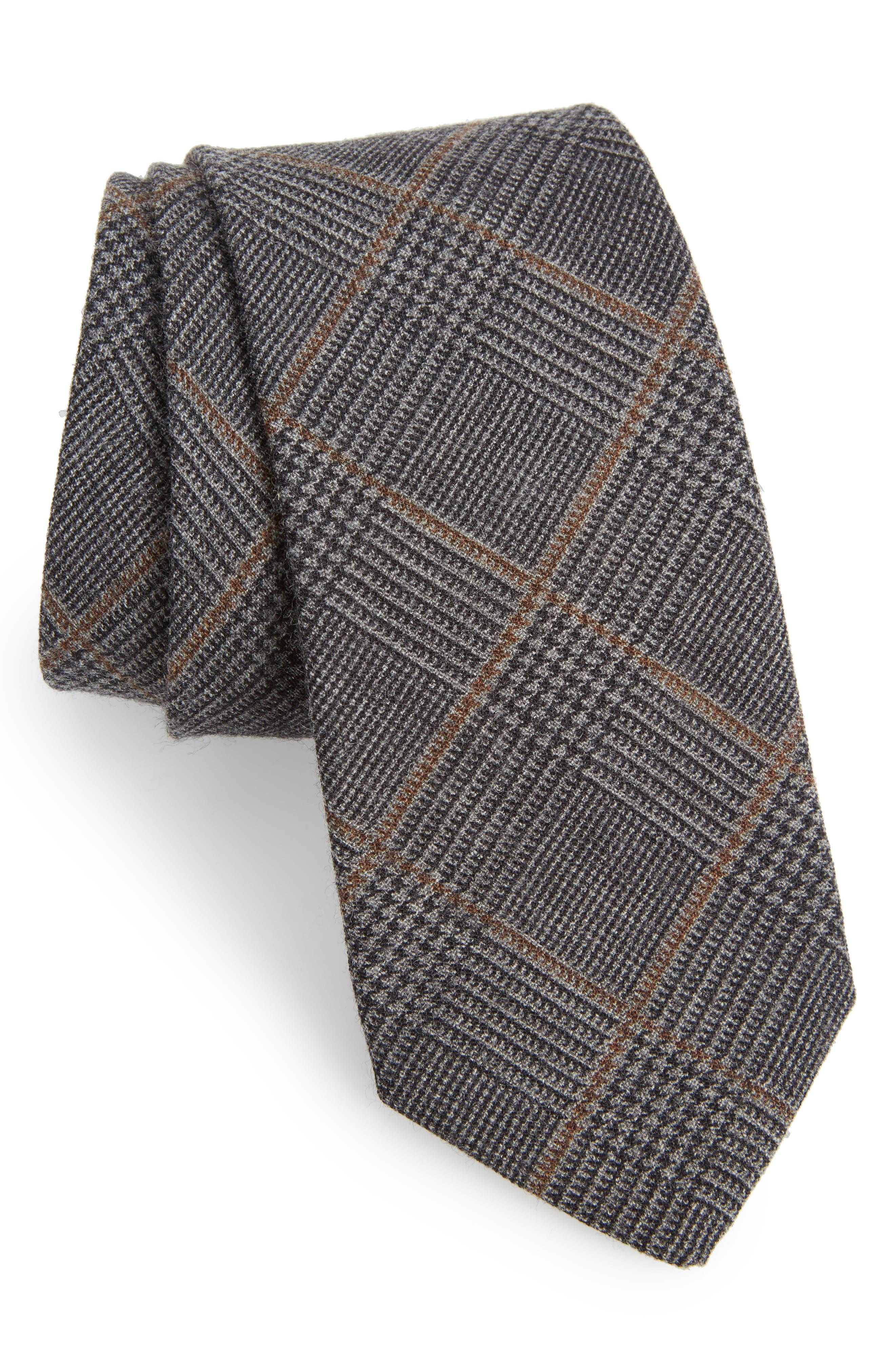 Dupont Glen Plaid Wool Tie,                         Main,                         color, Glen Plaid