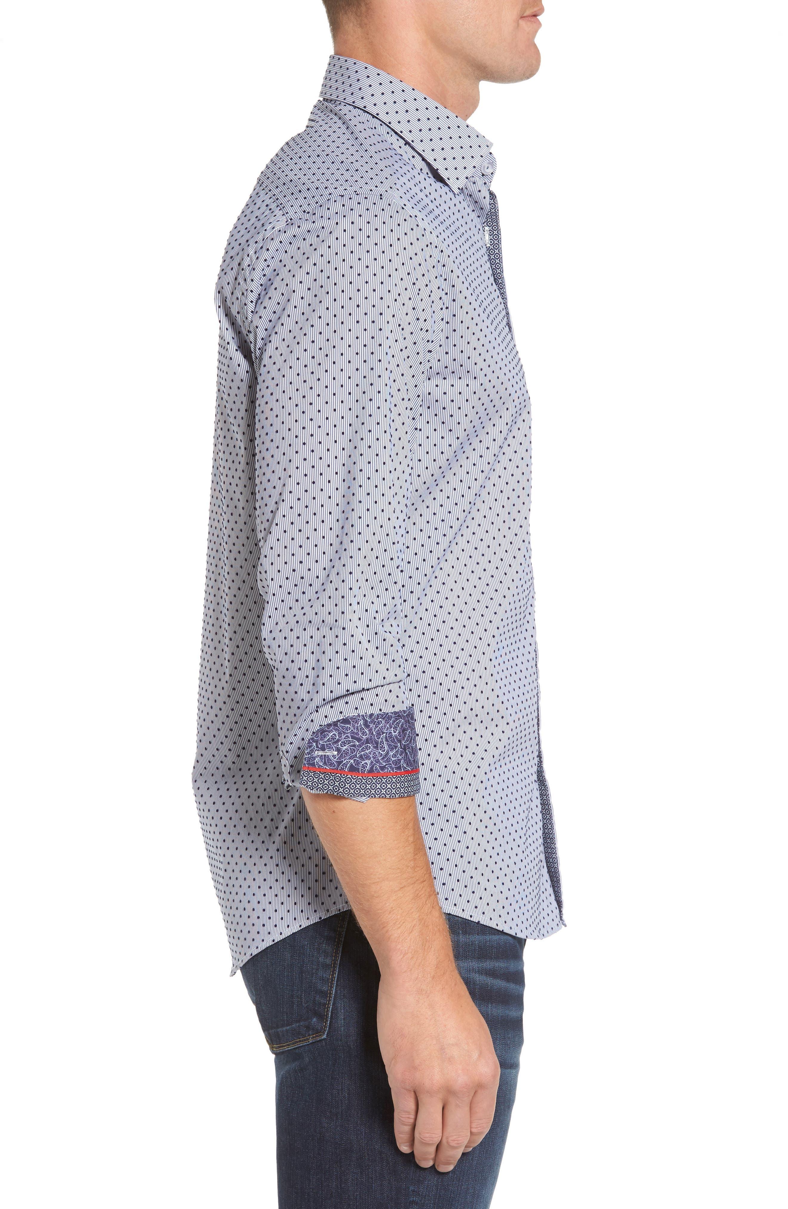 Alternate Image 3  - Stone Rose Slim Fit Flocked Dot Stripe Sport Shirt