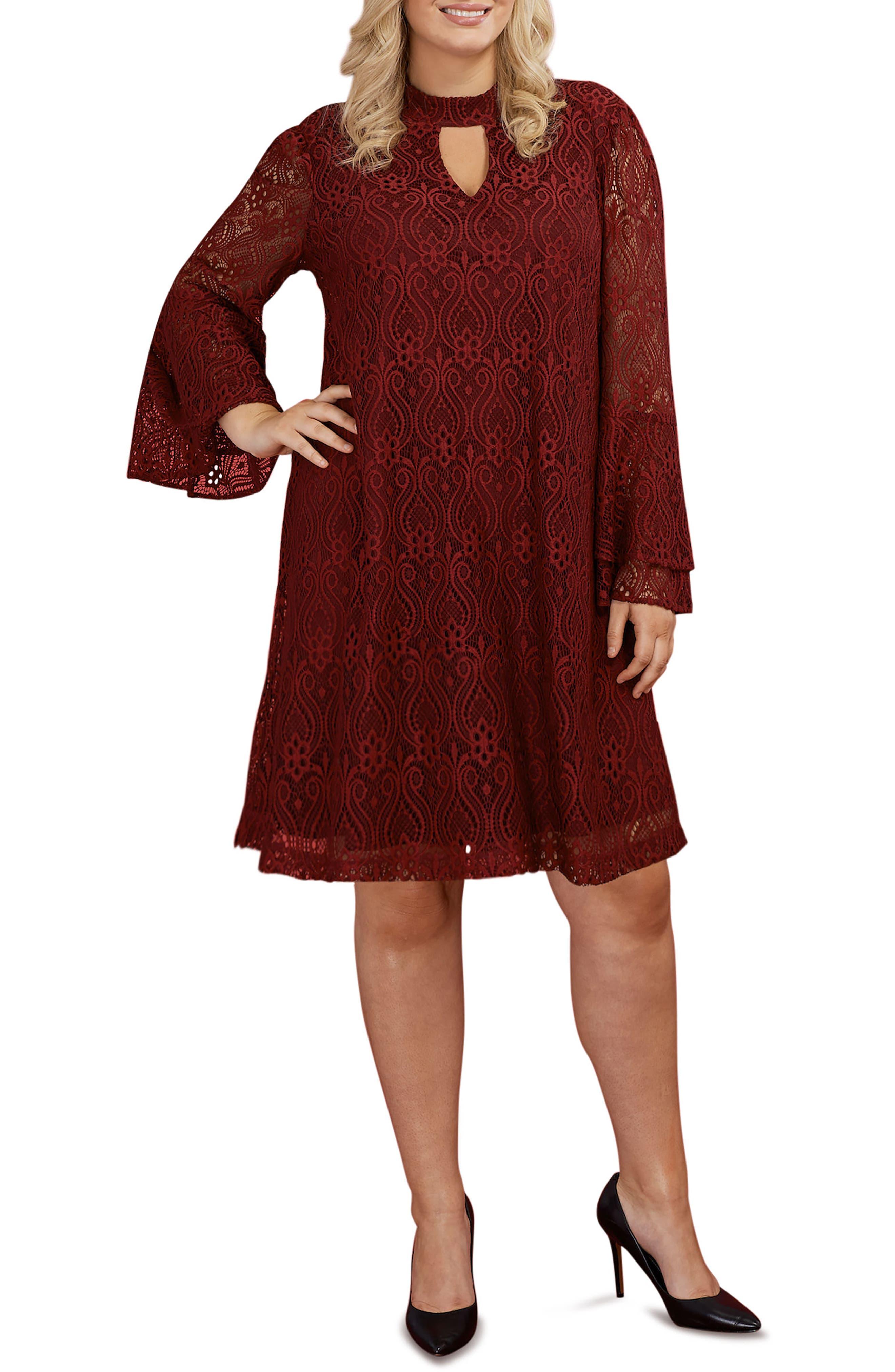 Main Image - ECI Lace Bell Sleeve A-Line Dress (Plus Size)