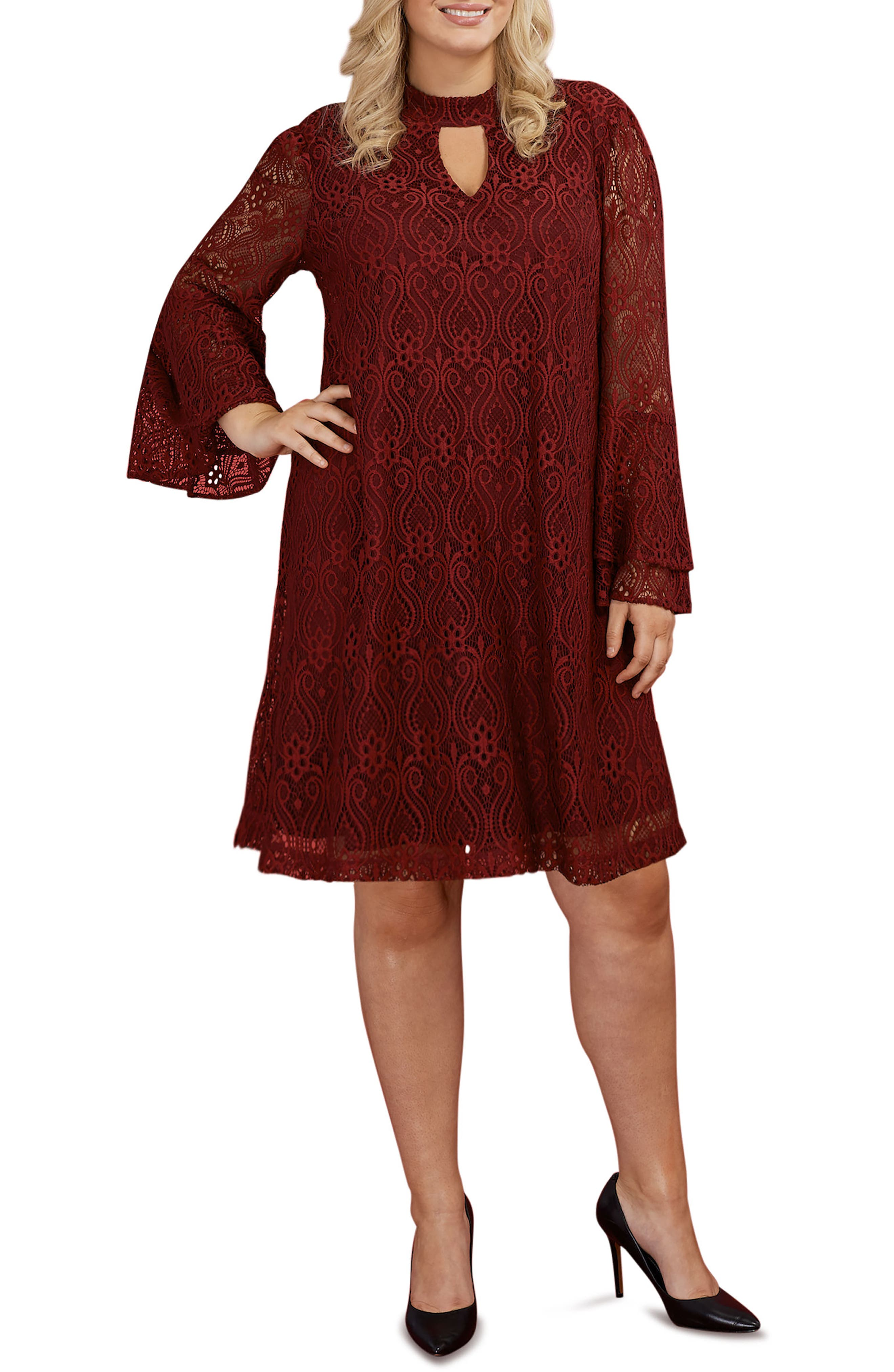 Lace Bell Sleeve A-Line Dress,                         Main,                         color, Wine