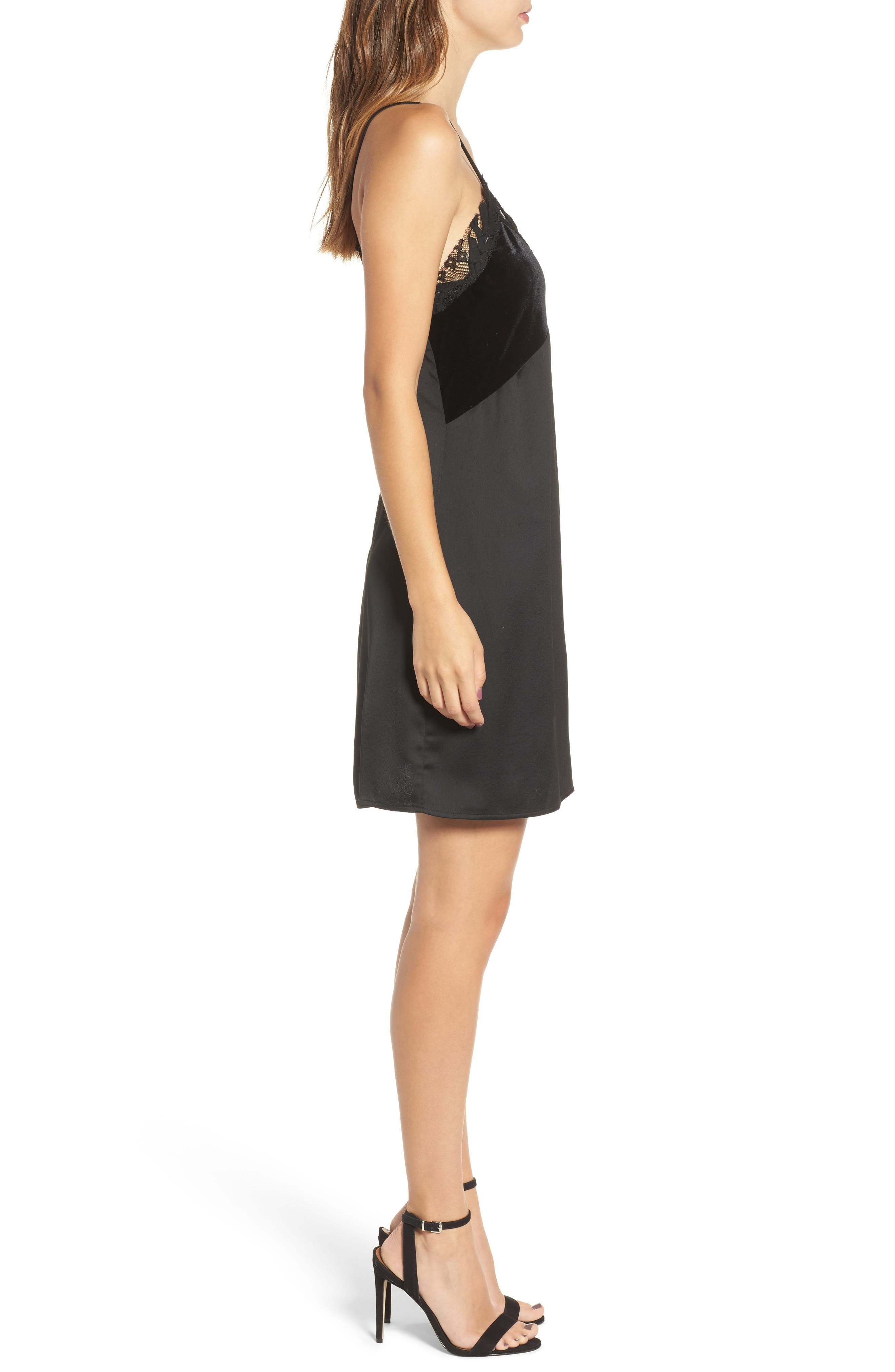 Velvet & Lace Trim Slipdress,                             Alternate thumbnail 3, color,                             Black