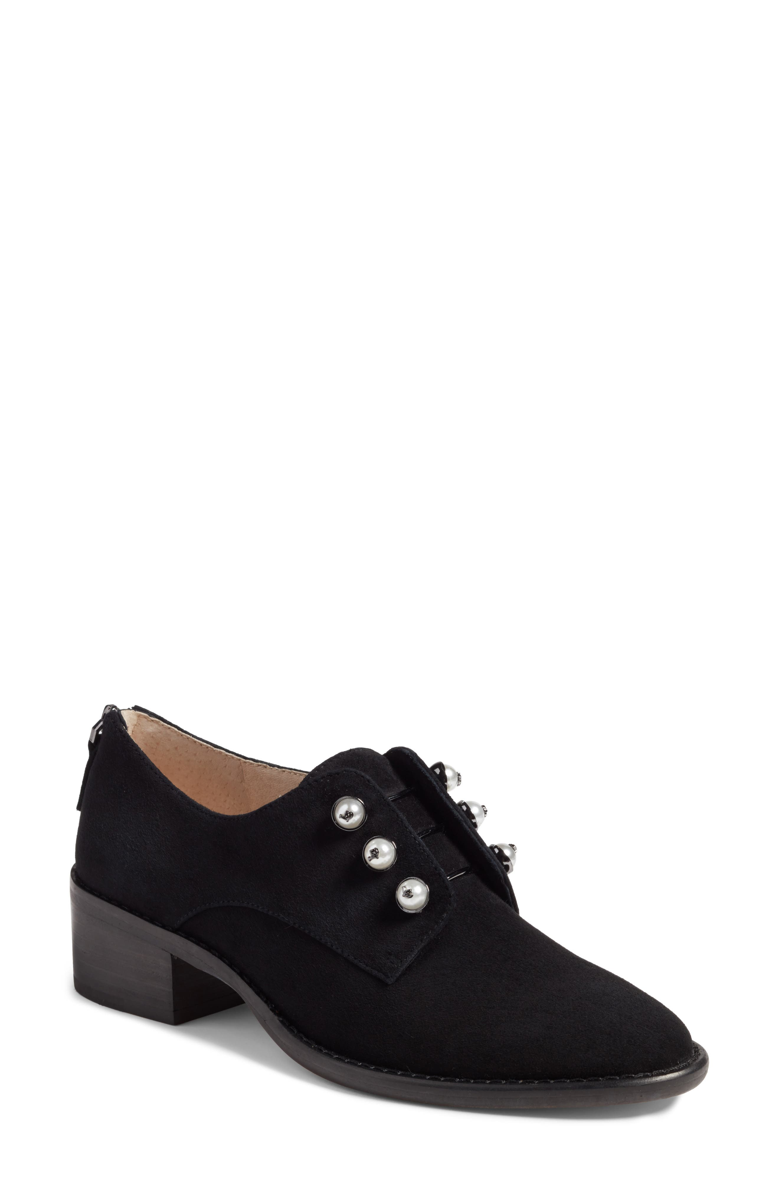 Fren Oxford,                             Main thumbnail 1, color,                             Black Suede