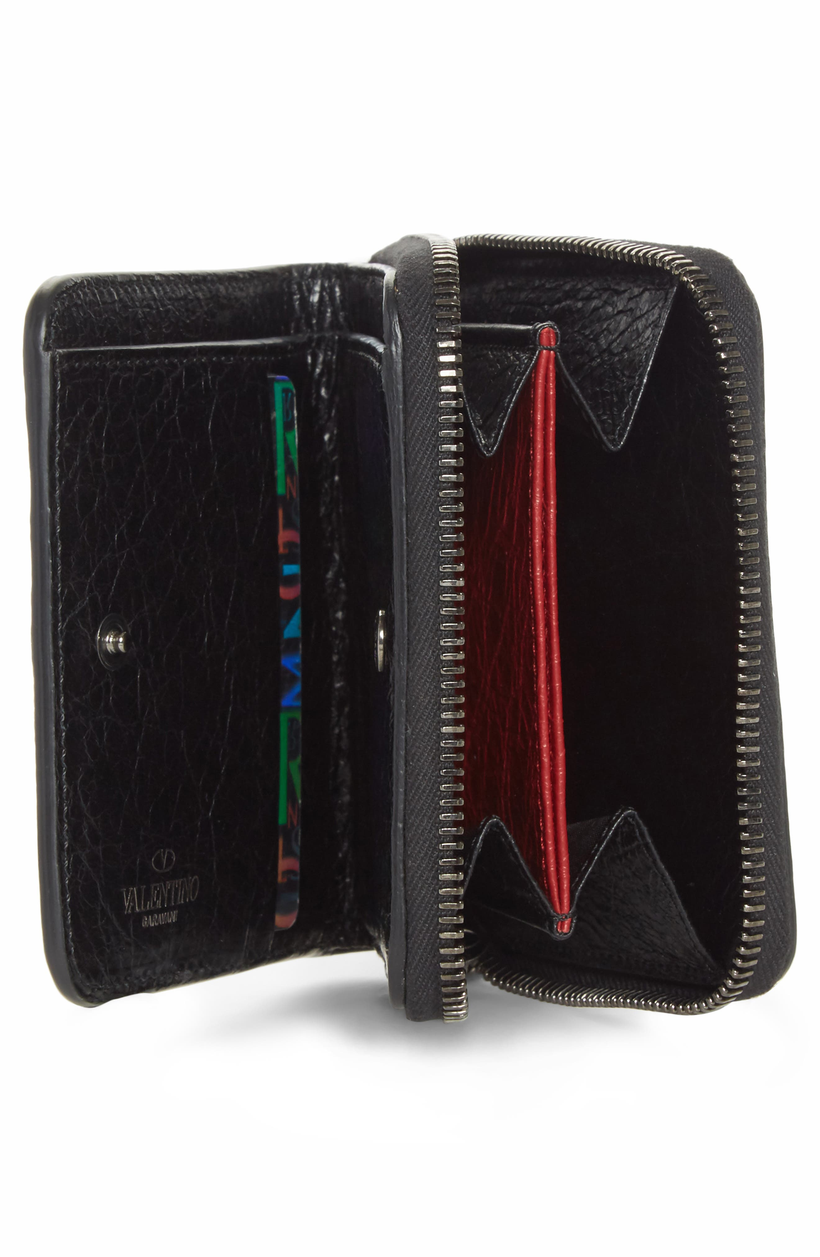 Rockstud Leather French Wallet,                             Alternate thumbnail 2, color,                             Black