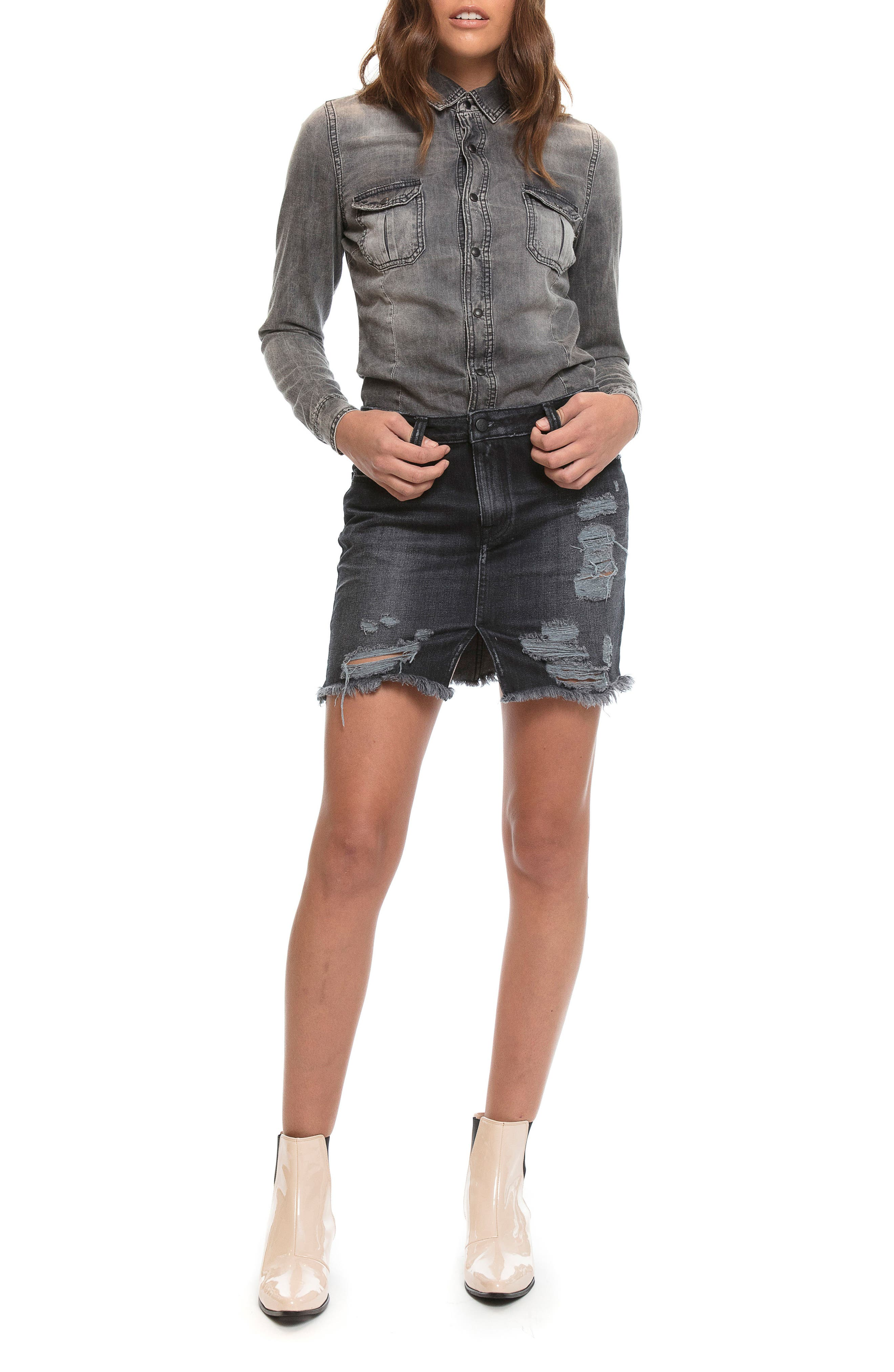 Mixed Media Denim Shirtdress,                             Alternate thumbnail 2, color,                             Black