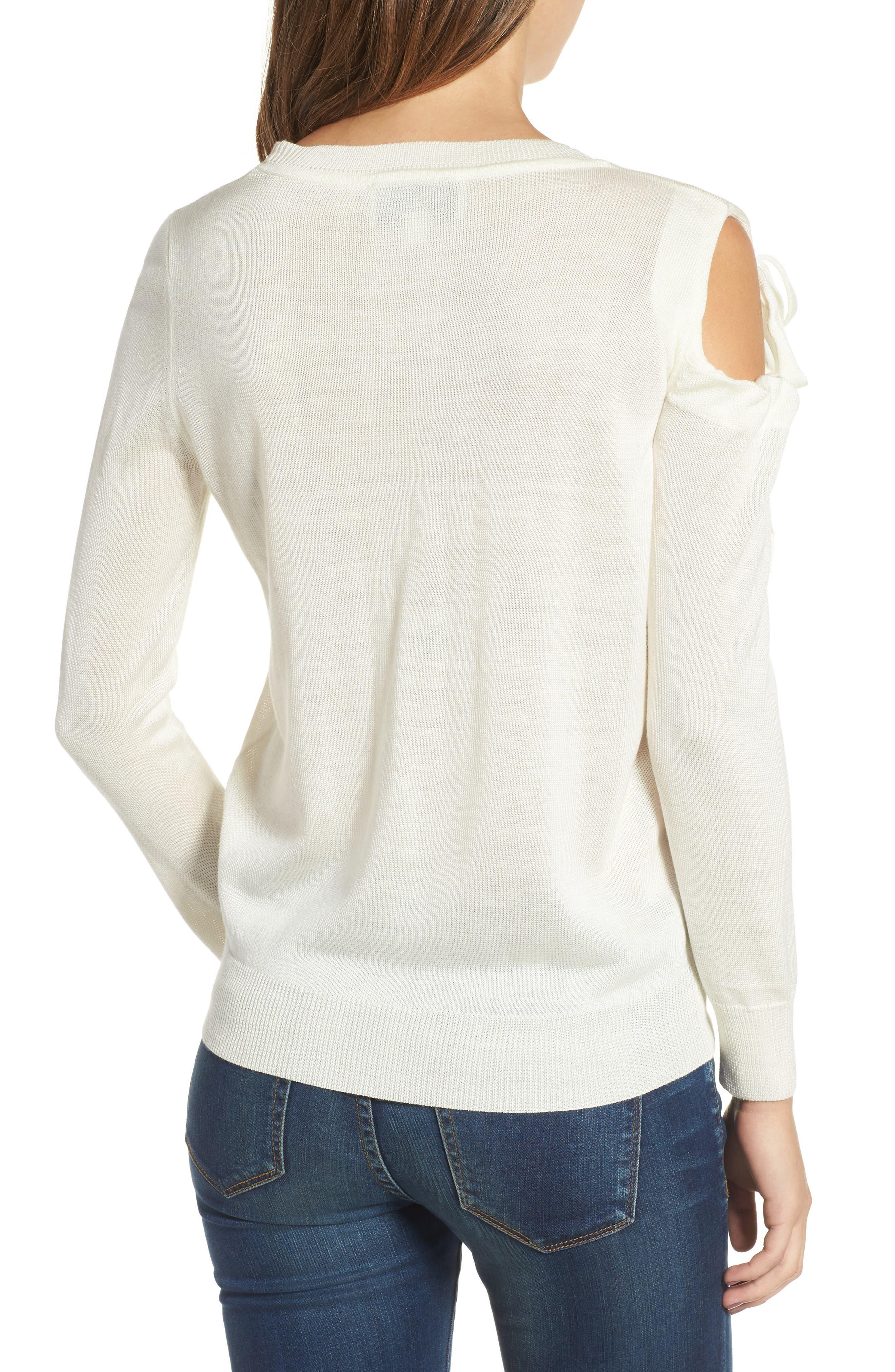 Cutout Sweatshirt,                             Alternate thumbnail 2, color,                             White