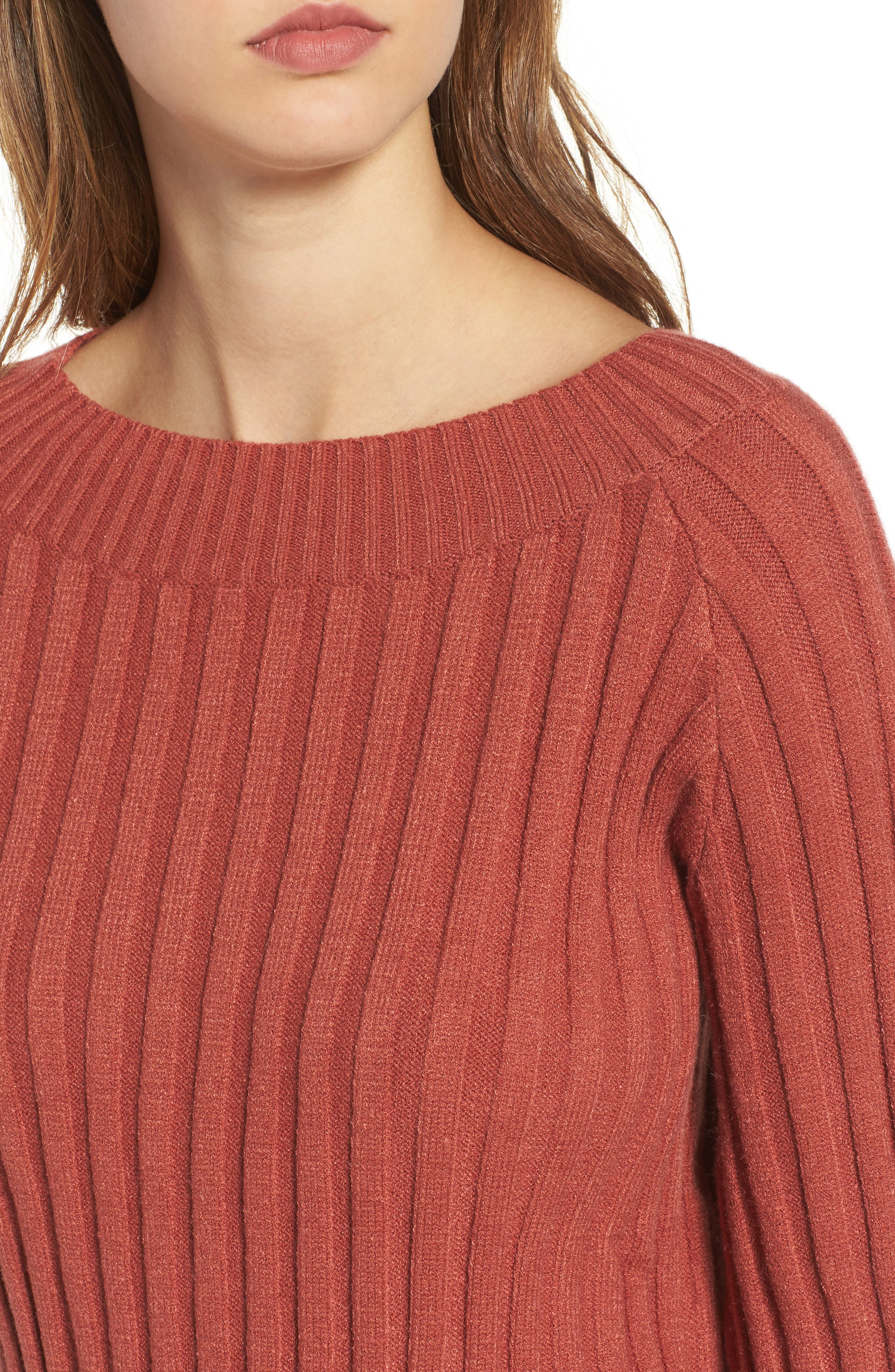 Alternate Image 4  - J.O.A. Crop Ribbed Sweater