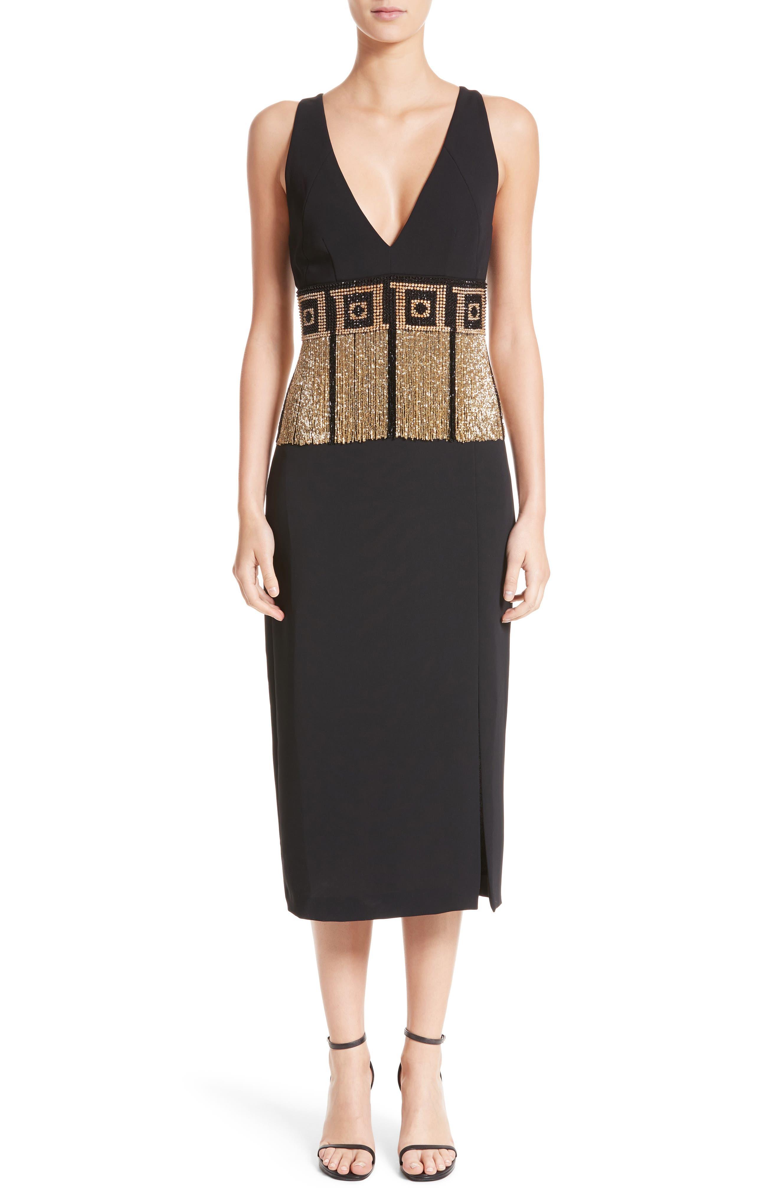 Beaded Fringe Waist Dress,                         Main,                         color, Black/ Gold