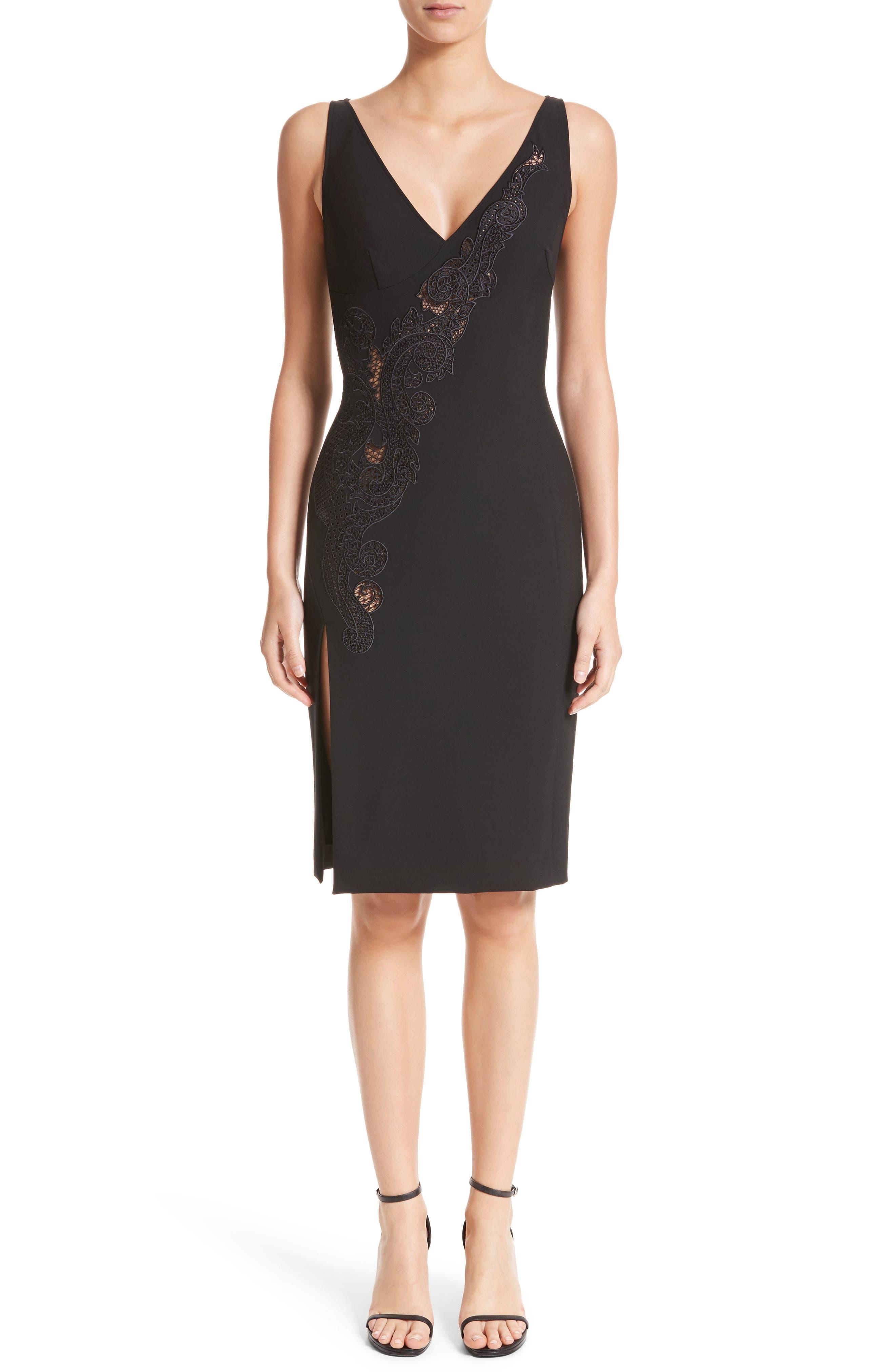 Lace Inset Sheath Dress,                         Main,                         color, Black