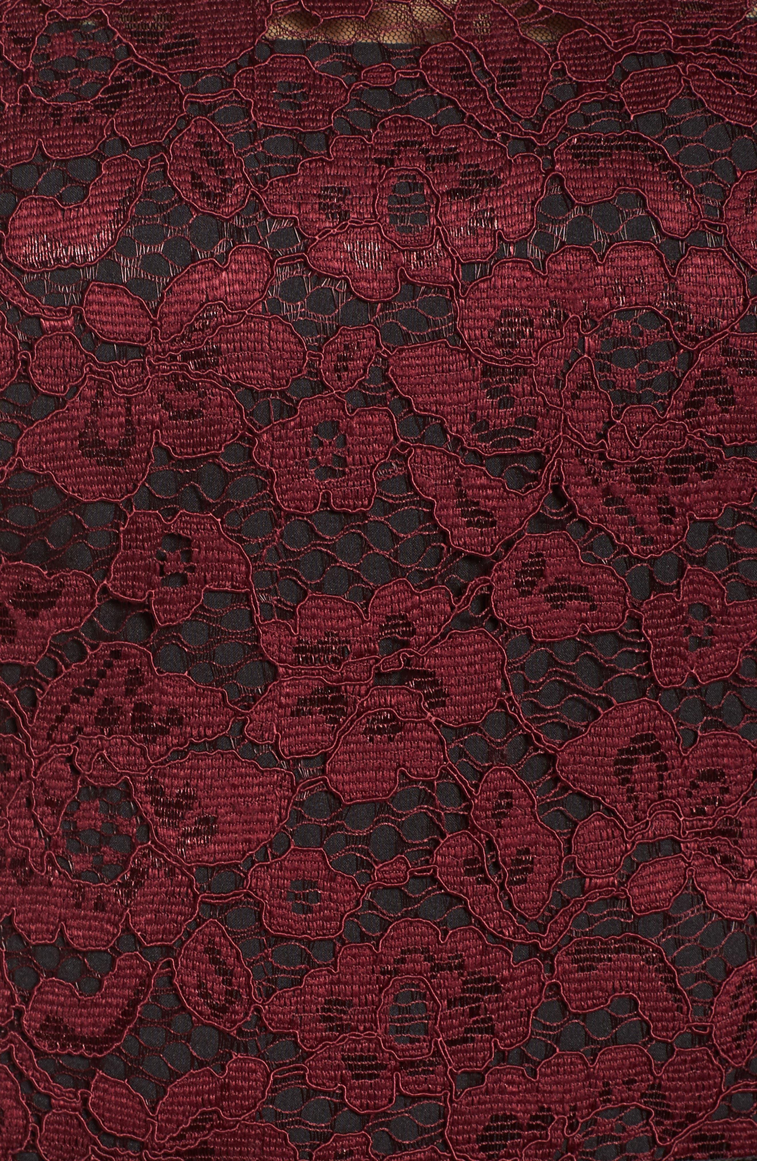 Lace Midi Dress,                             Alternate thumbnail 6, color,                             Plum Wine