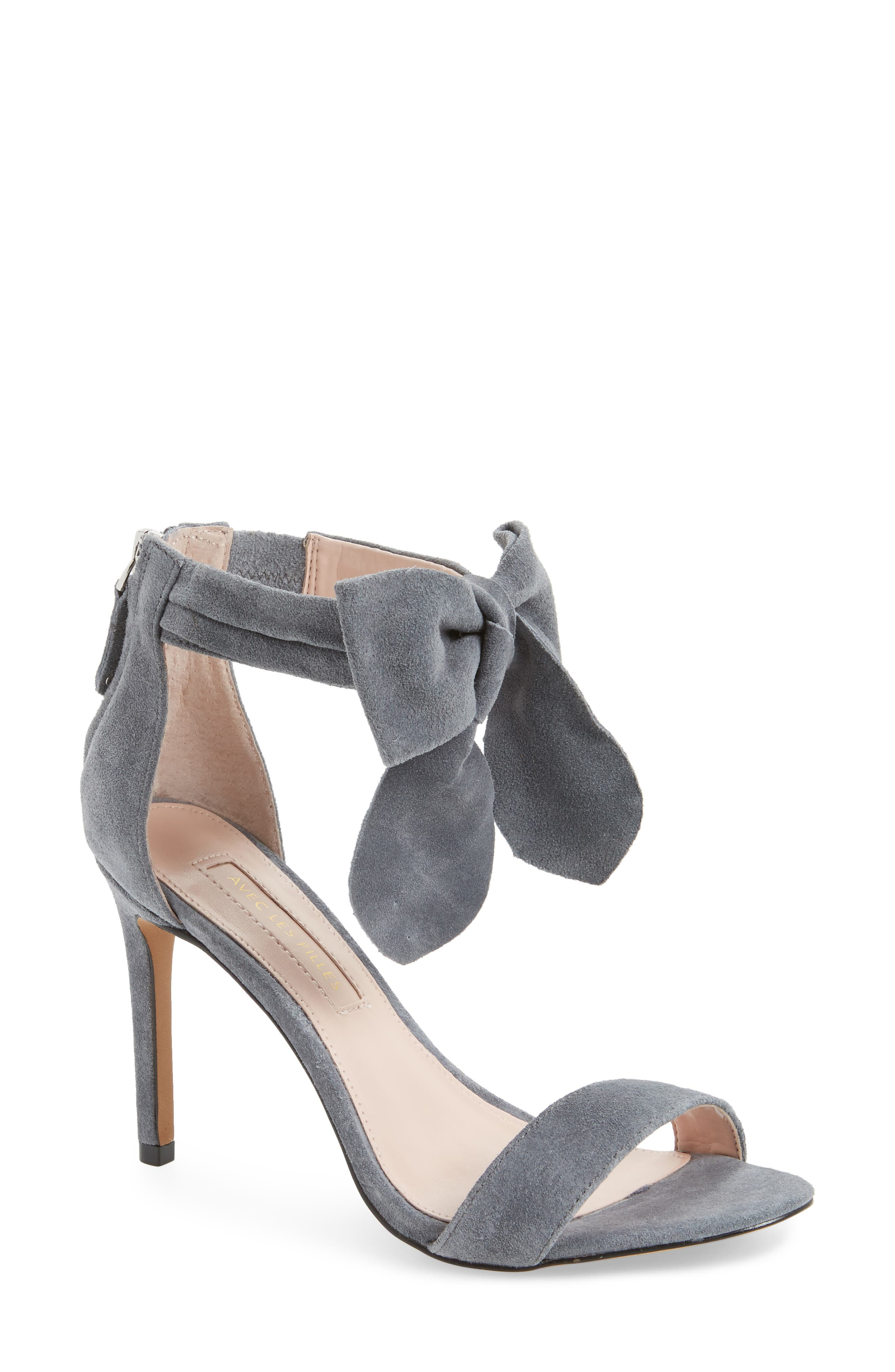 Jax Ankle Bow Pump,                             Main thumbnail 1, color,                             Grey Suede