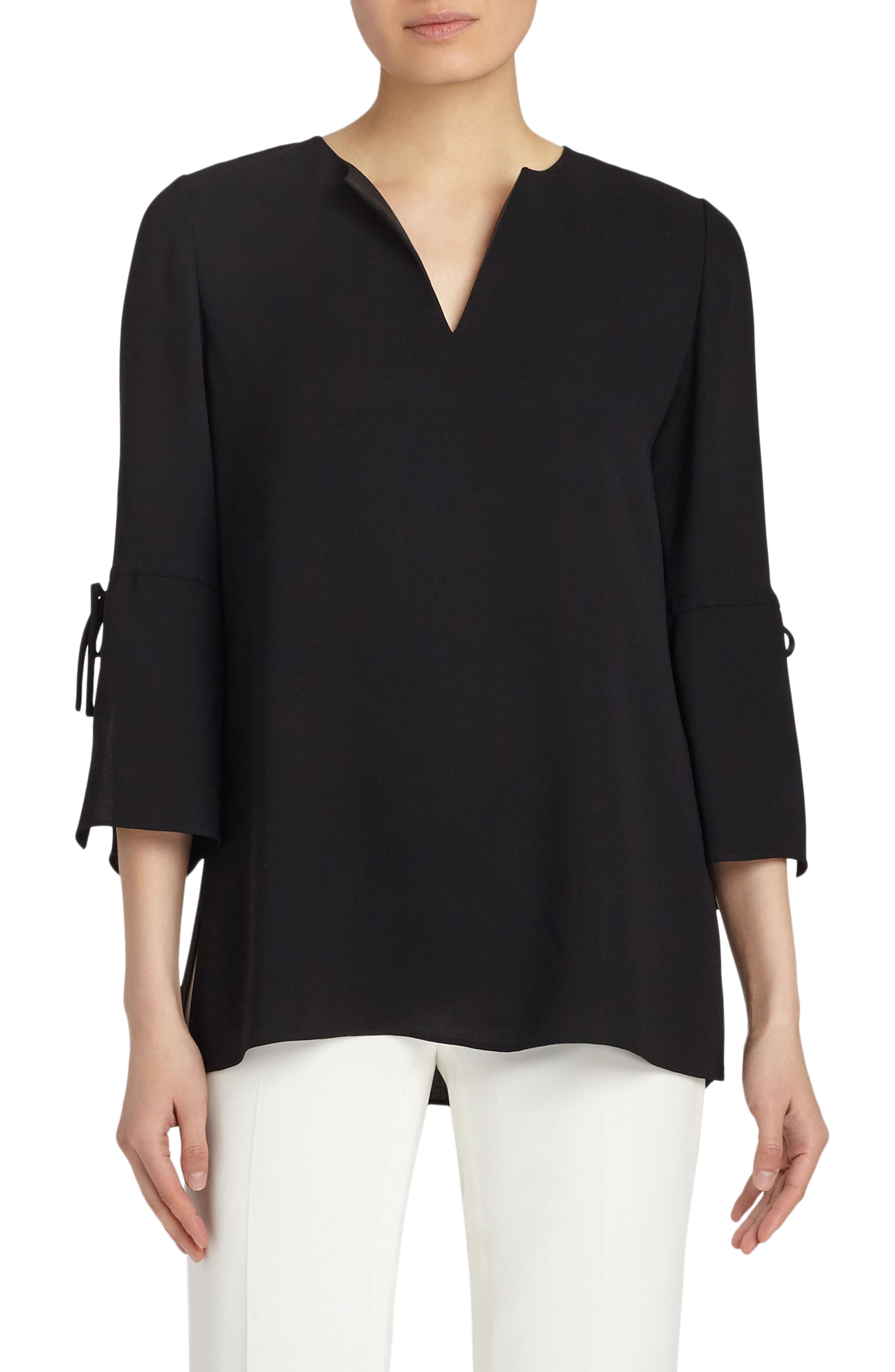 Sela Silk Blouse,                         Main,                         color, Black