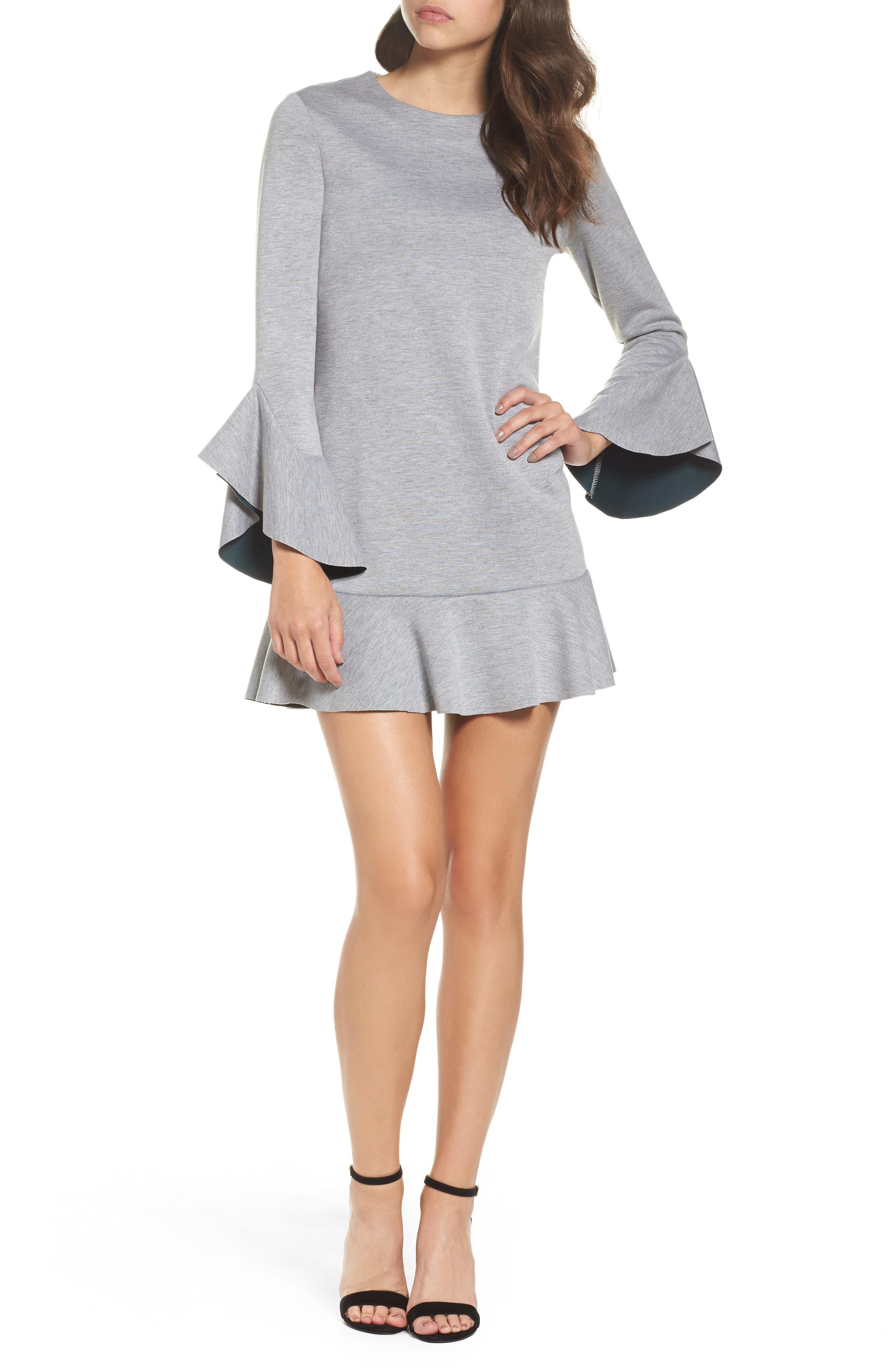 Ruffle Scuba Dress,                             Main thumbnail 1, color,                             Grey Heather