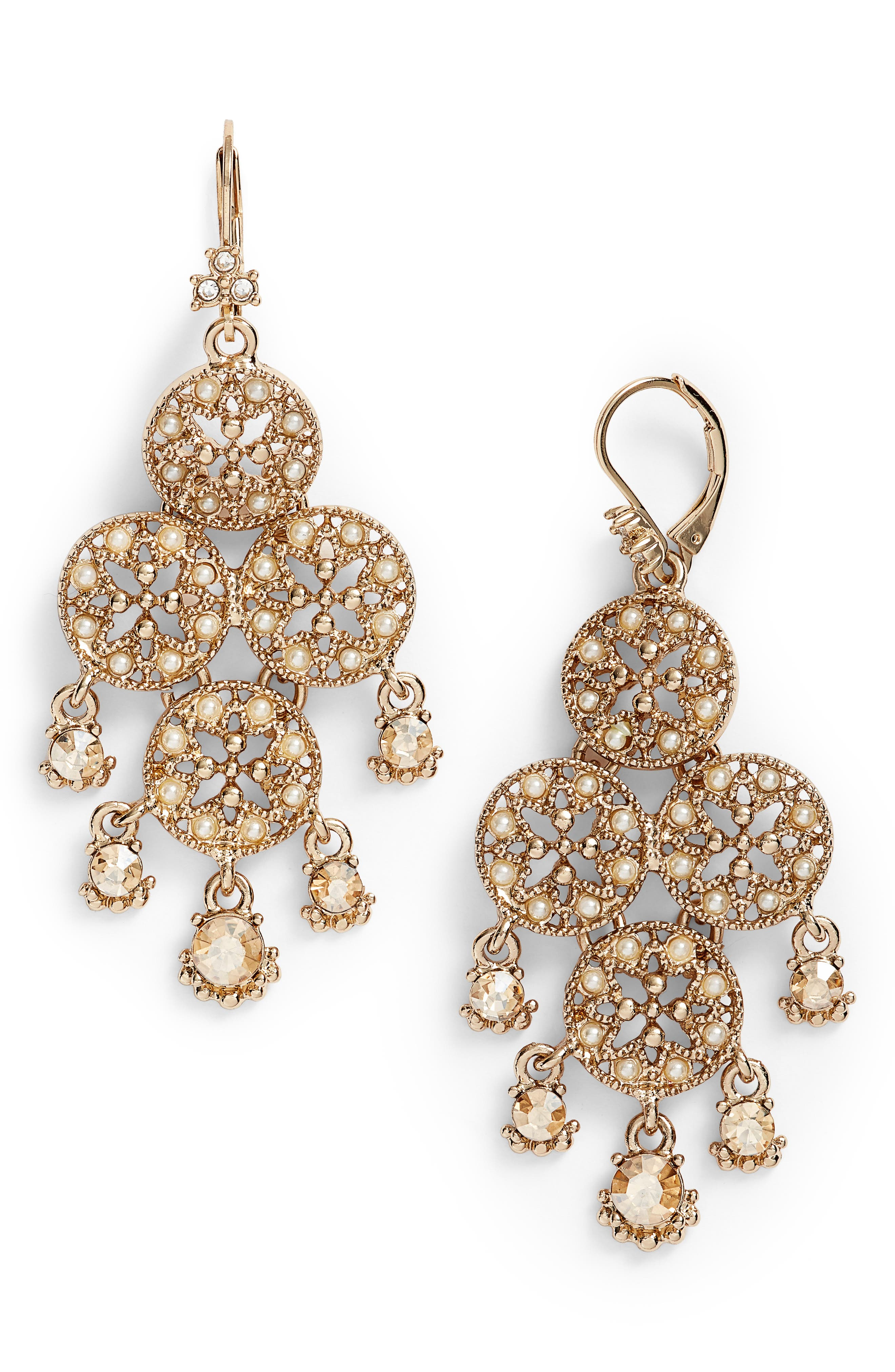 Chandelier Drop Earrings,                         Main,                         color, Gold/ Gold Multi