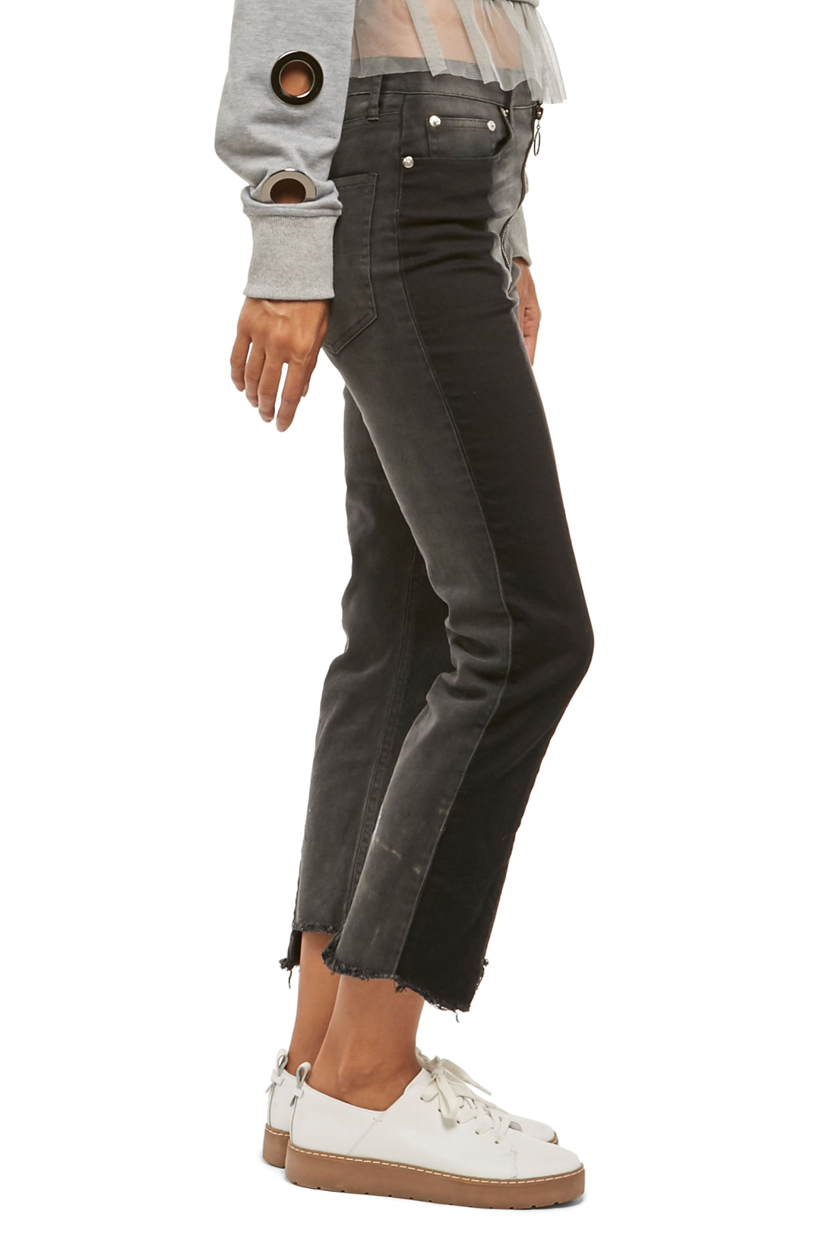 Alpha & Omega Two-Tone Crop Jeans,                             Alternate thumbnail 3, color,                             Black