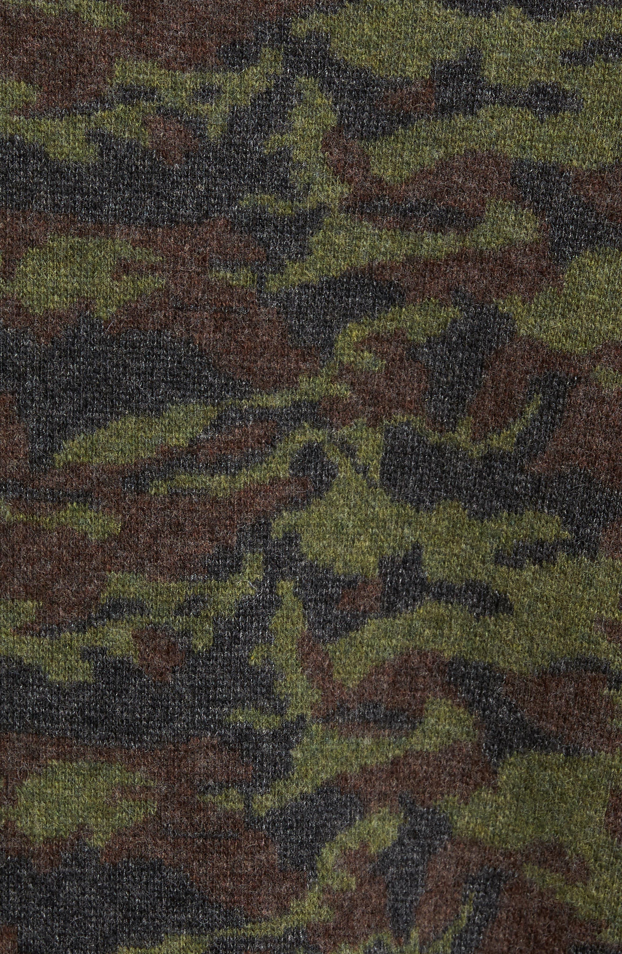 Wool Camo Sweater,                             Alternate thumbnail 5, color,                             Green Camo
