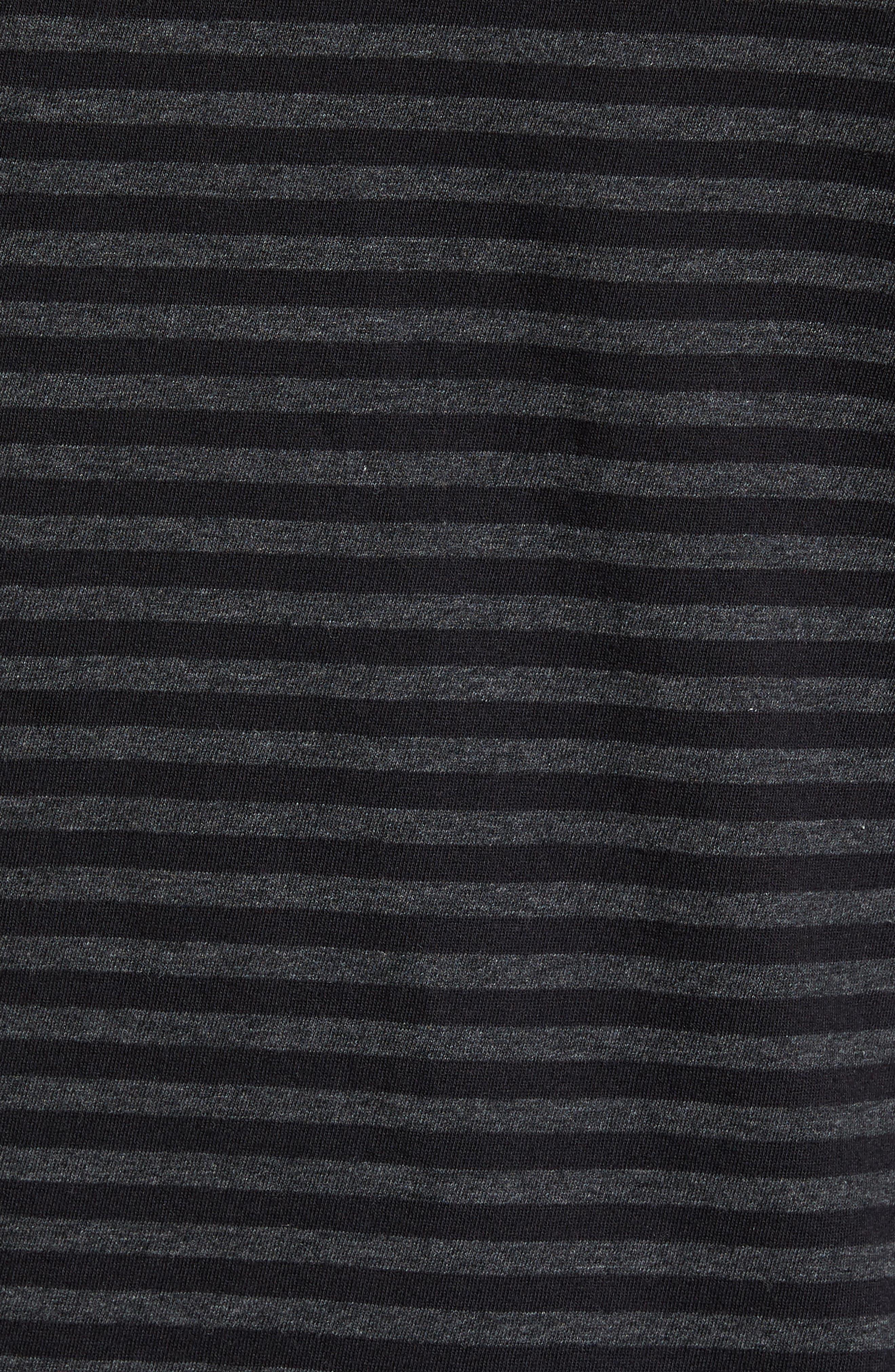 Long Sleeve Henley T-Shirt,                             Alternate thumbnail 5, color,                             Black/ Charcoal Stripe