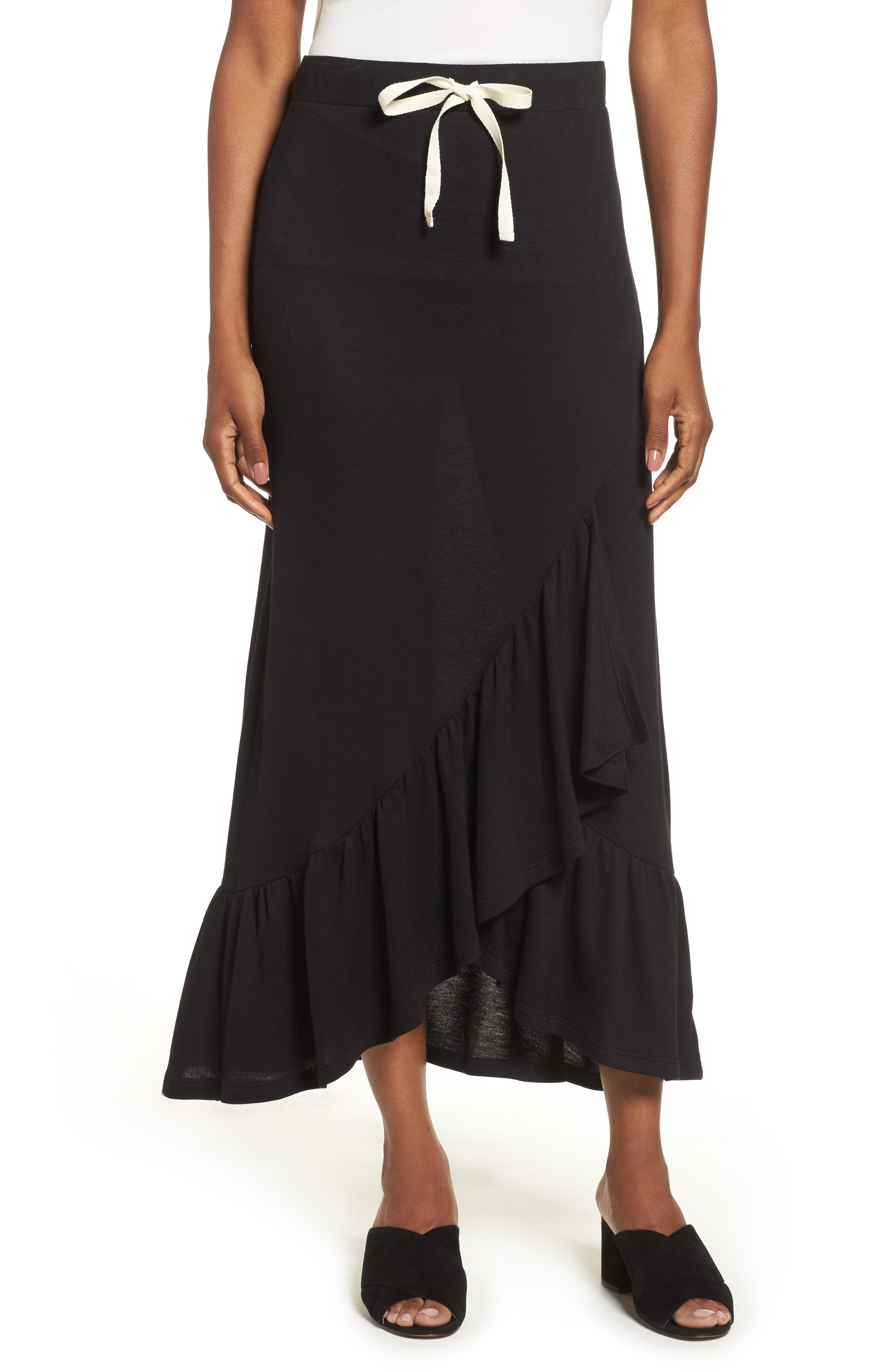 Pleione Ruffle High/Low Knit Skirt