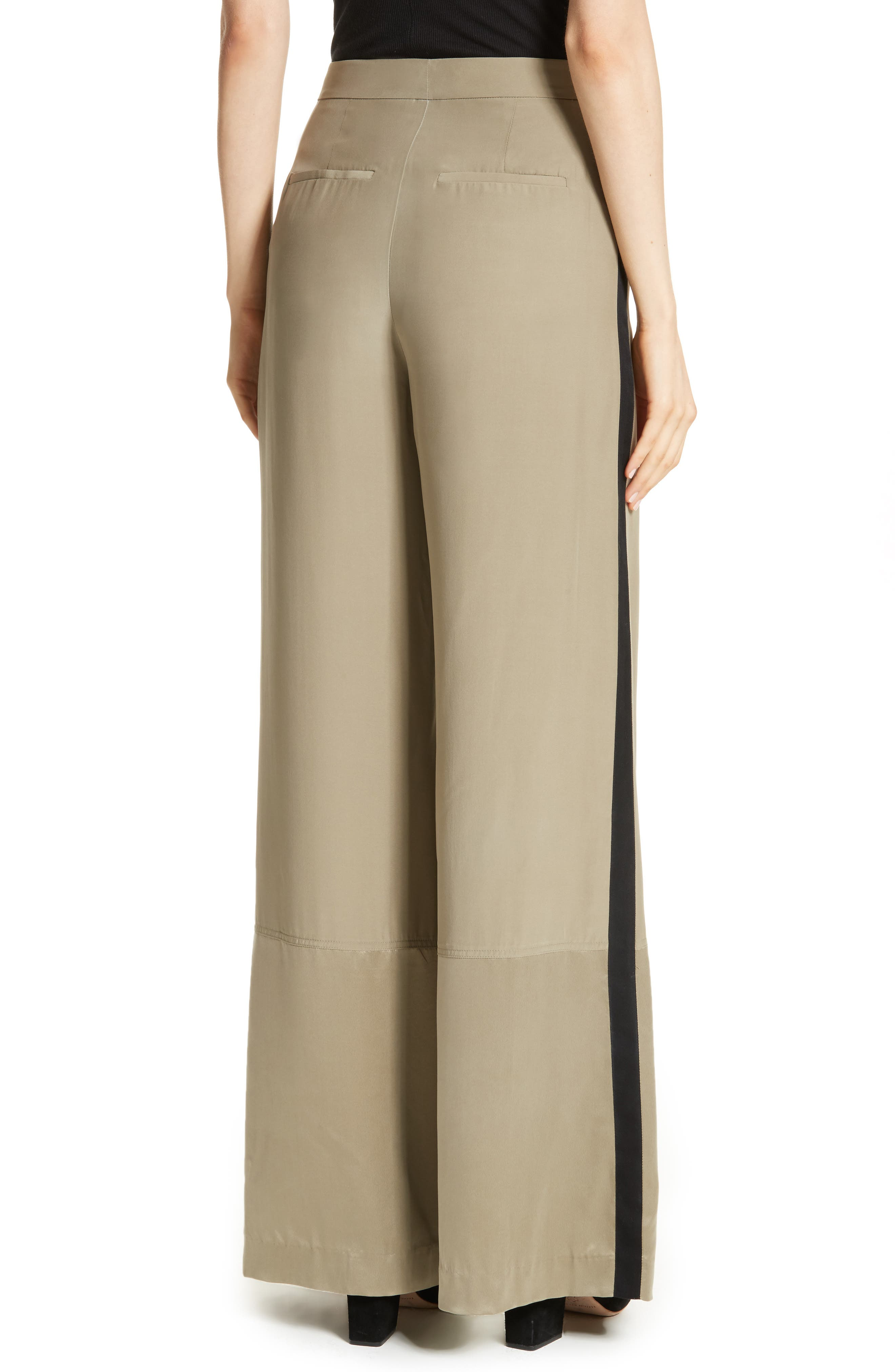 Satin Contrast Wide Leg Silk Pants,                             Alternate thumbnail 2, color,                             Light Army