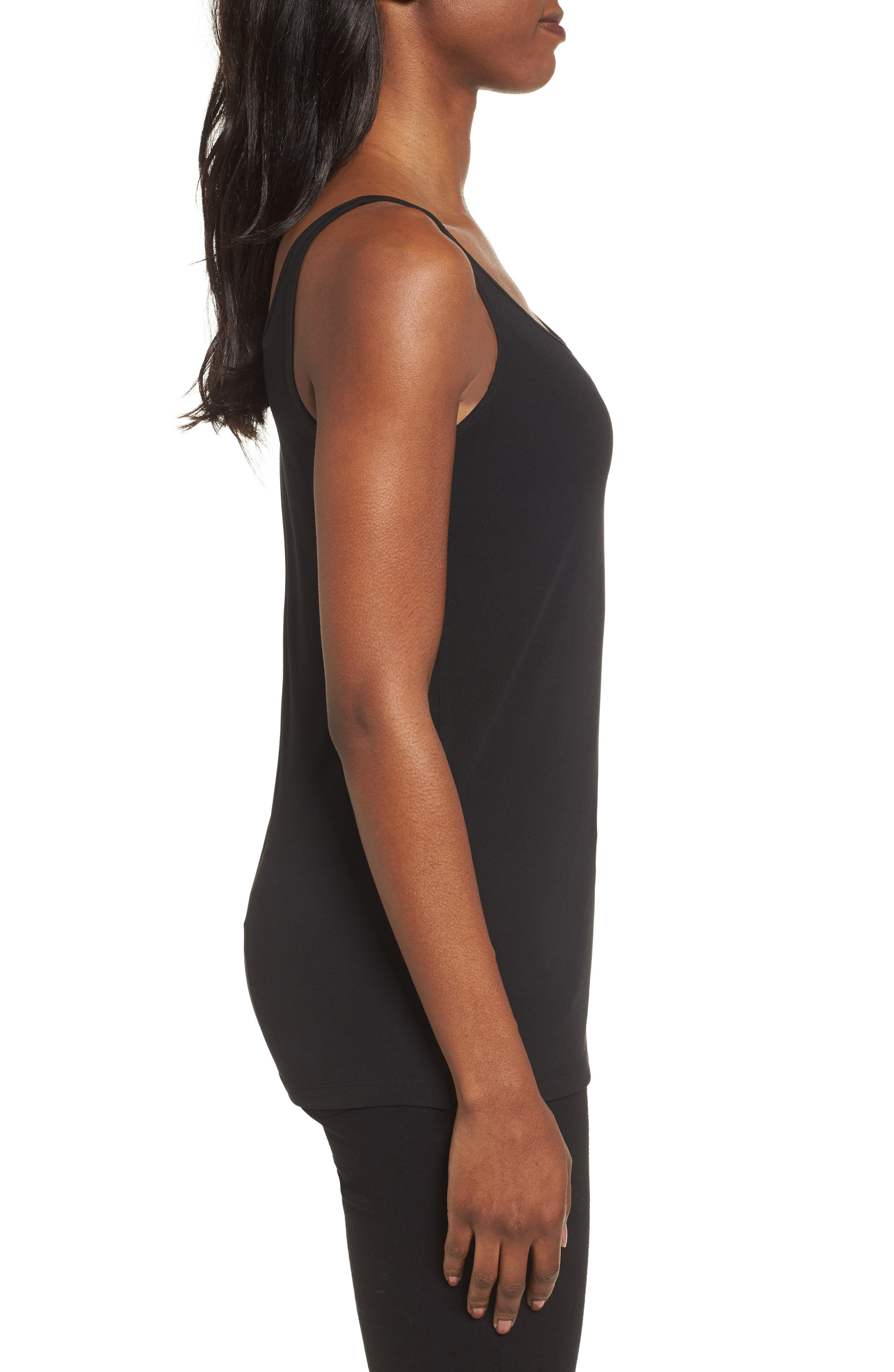 Scoop Neck Silk Camisole,                             Alternate thumbnail 3, color,                             Black