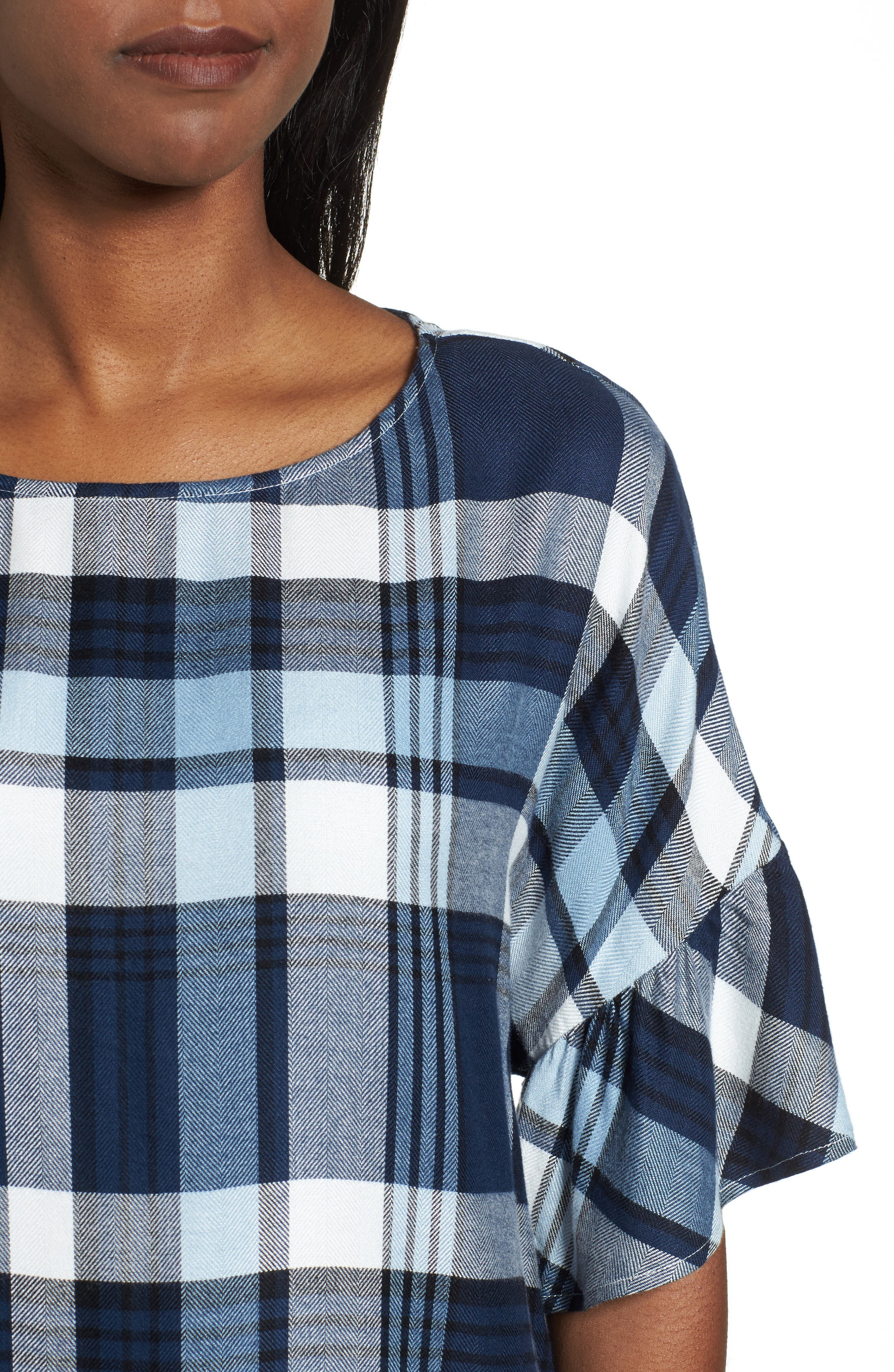Alternate Image 4  - Two by Vince Camuto Ruffle Sleeve Plaid Top (Regular & Petite)