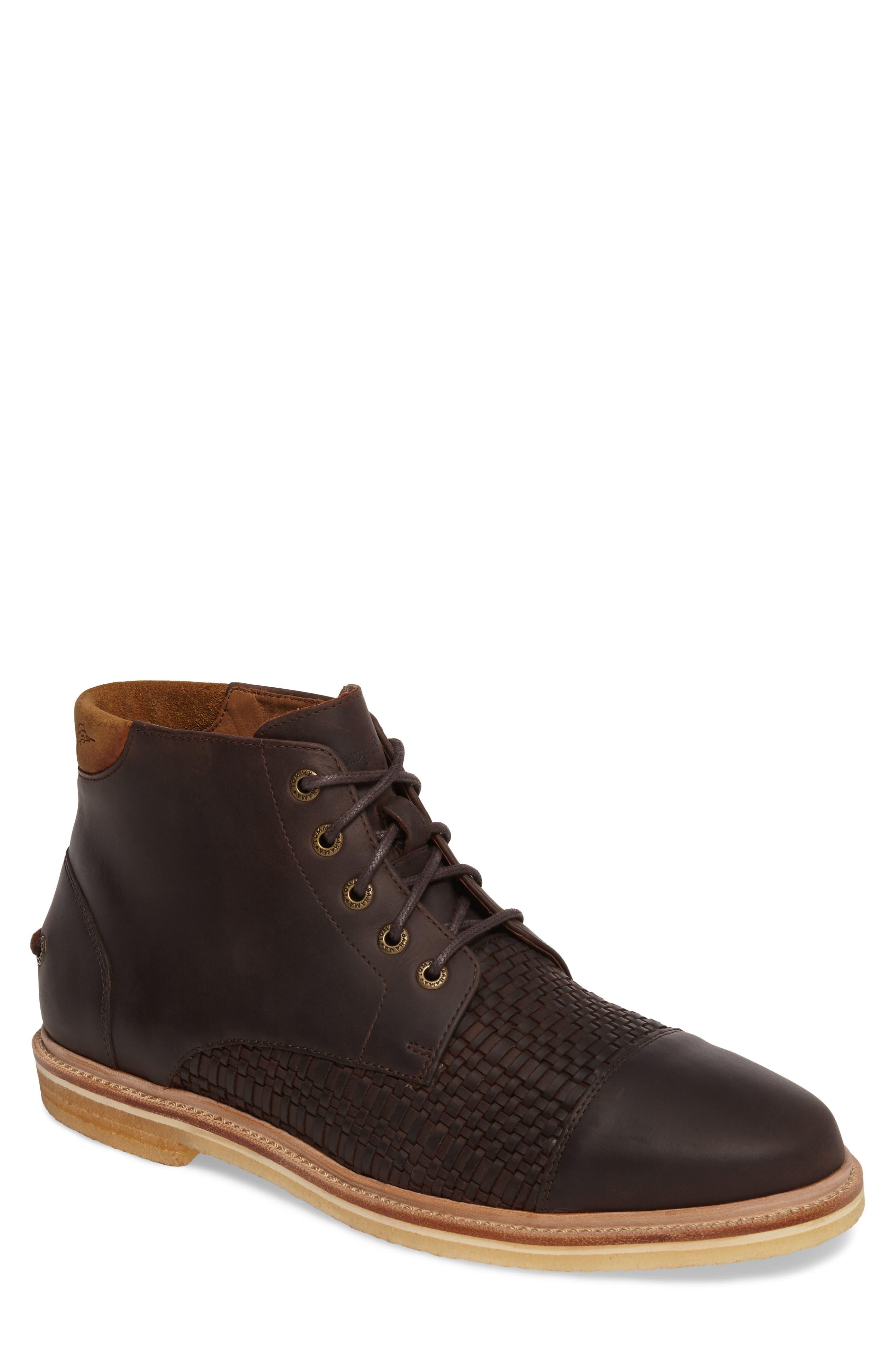 Argon Blooms Cap Toe Boot,                             Main thumbnail 1, color,                             Brown Leather