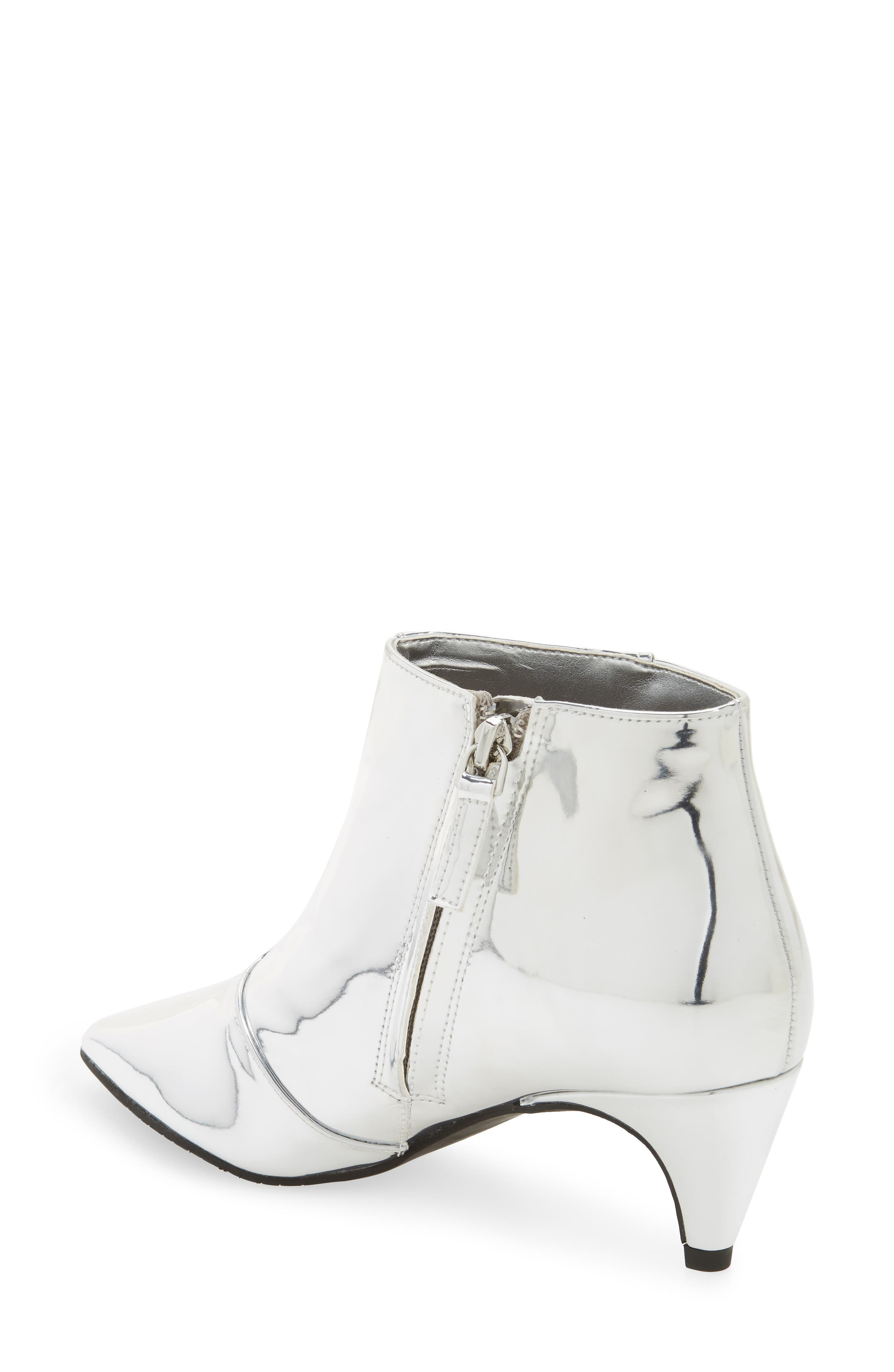 Major Pointy Toe Bootie,                             Alternate thumbnail 2, color,                             Silver Mirror Faux Leather