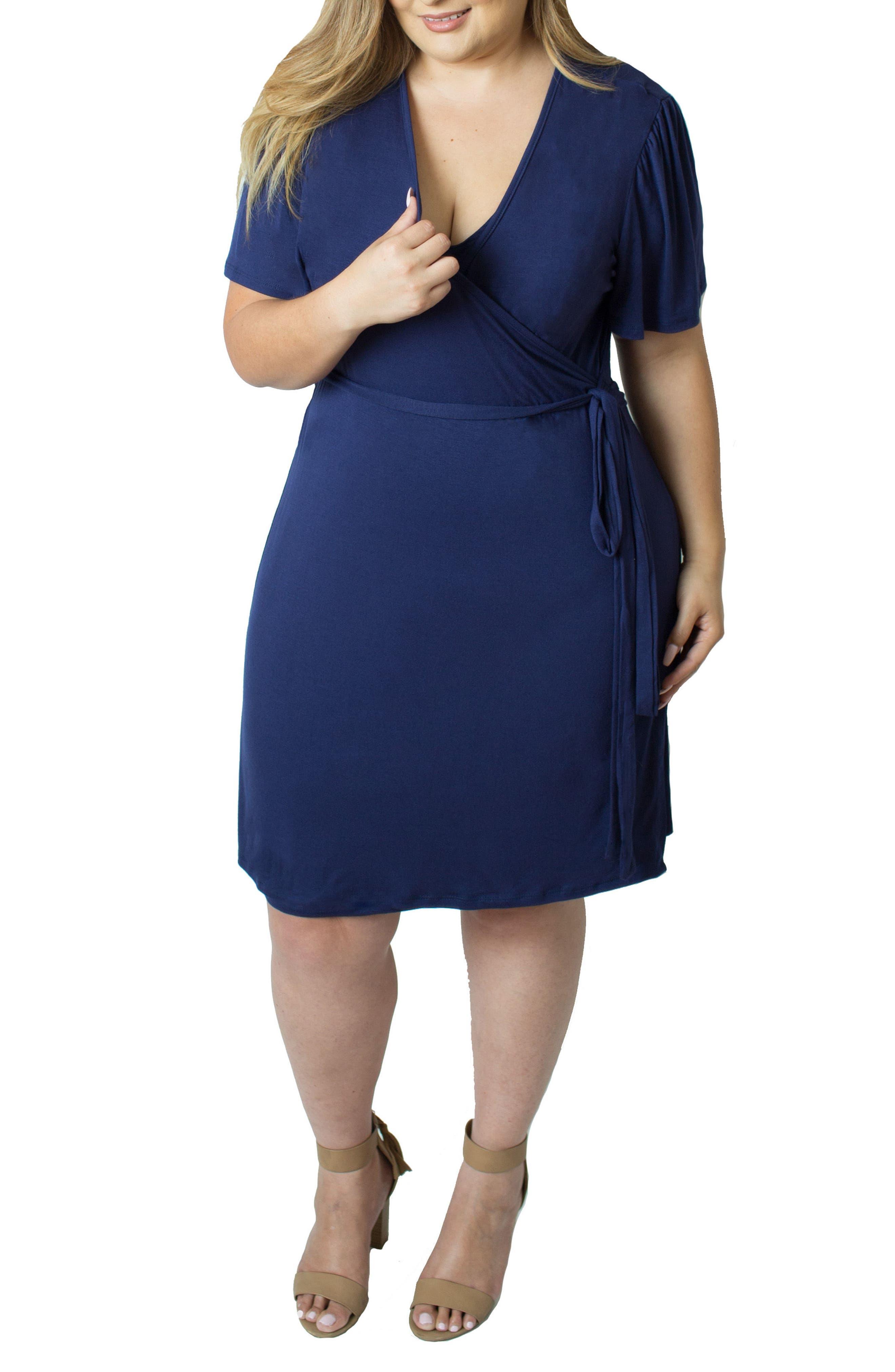 Wrap Nursing Dress,                             Alternate thumbnail 4, color,                             Blue