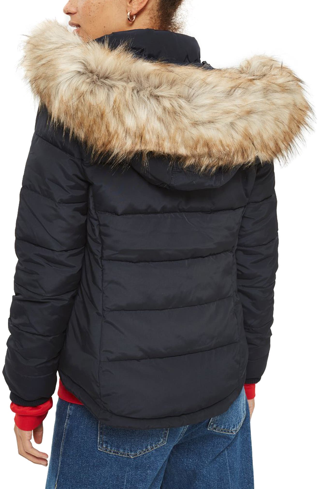 Alternate Image 3  - Topshop Nancy Quilted Puffer Jacket with Faux Fur Trim