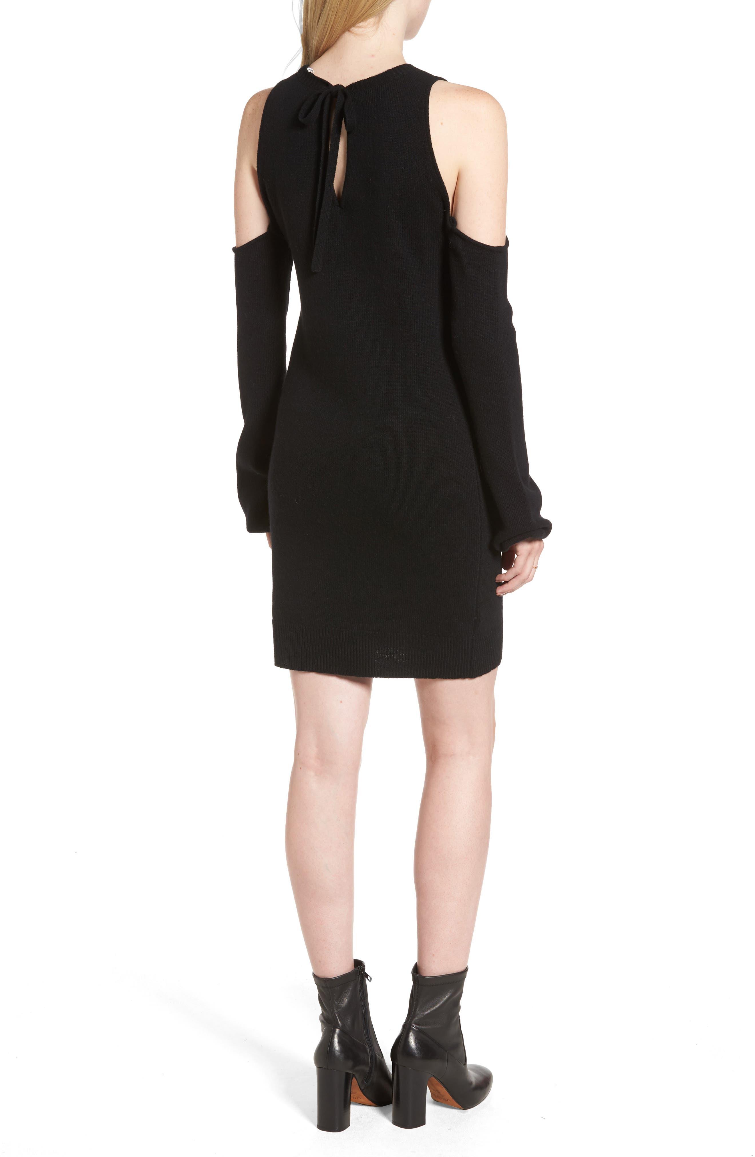 Cold Shoulder Sweater Dress,                             Alternate thumbnail 2, color,                             Black