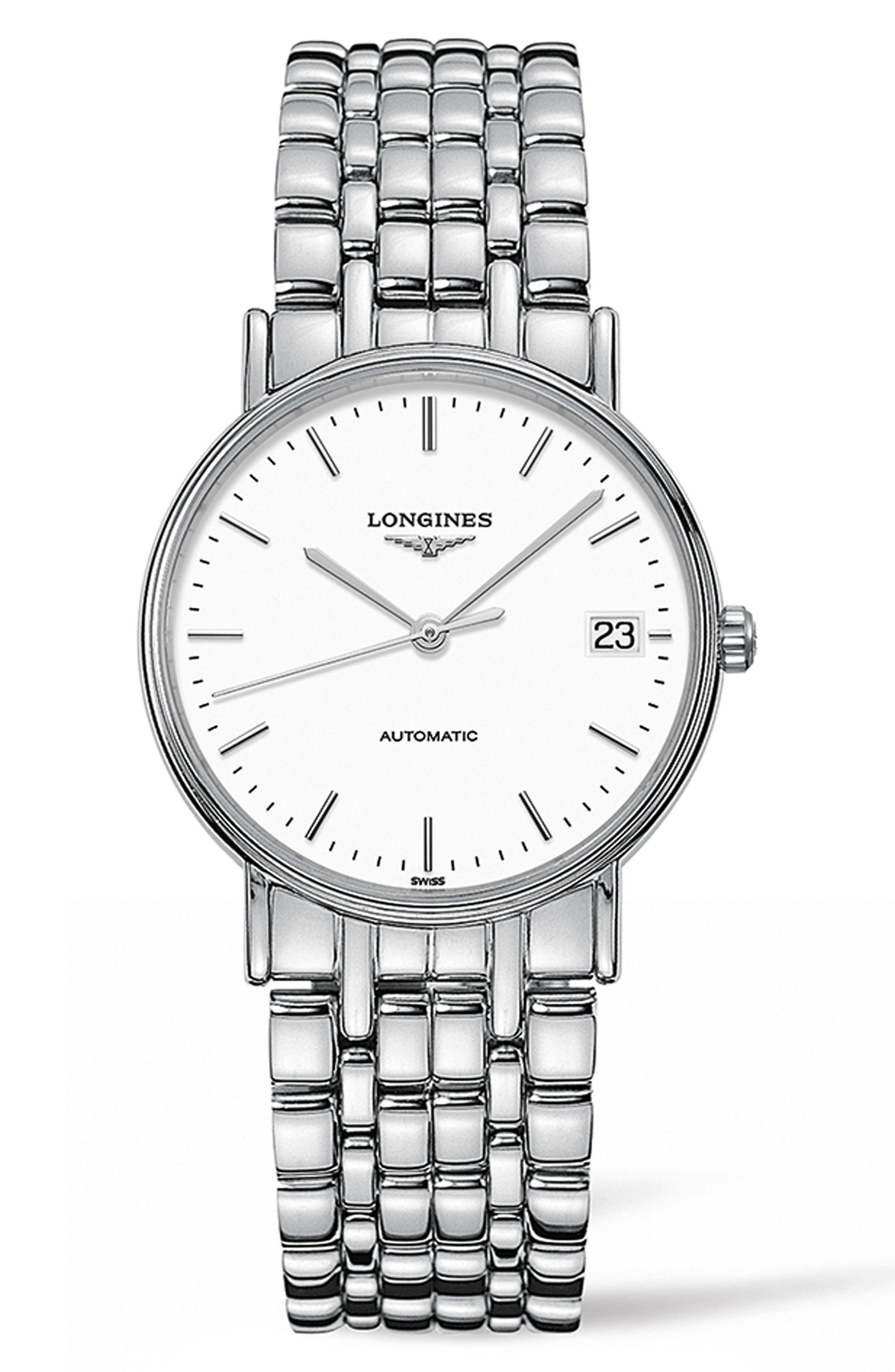 Présence Automatic Bracelet Watch, 34.5mm,                         Main,                         color, Silver/ White/ Silver