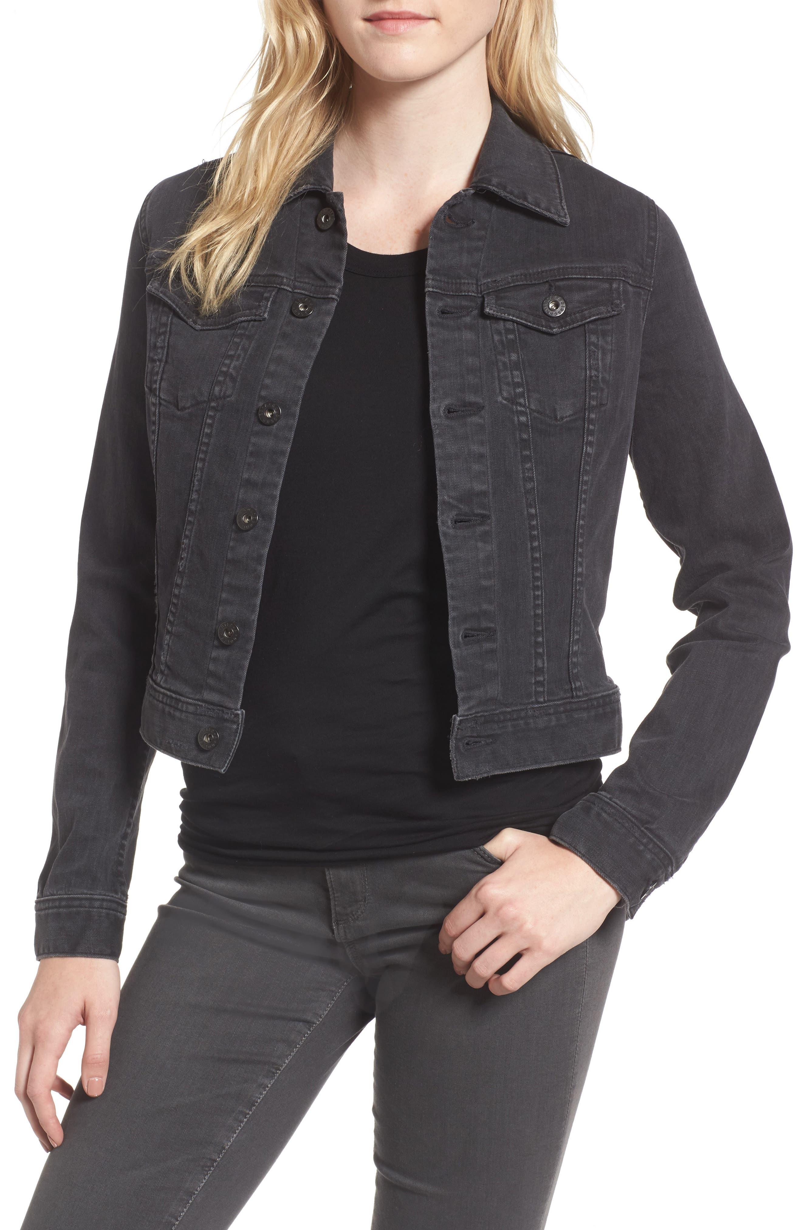 'Robyn' Crop Denim Jacket,                         Main,                         color, Black Tea