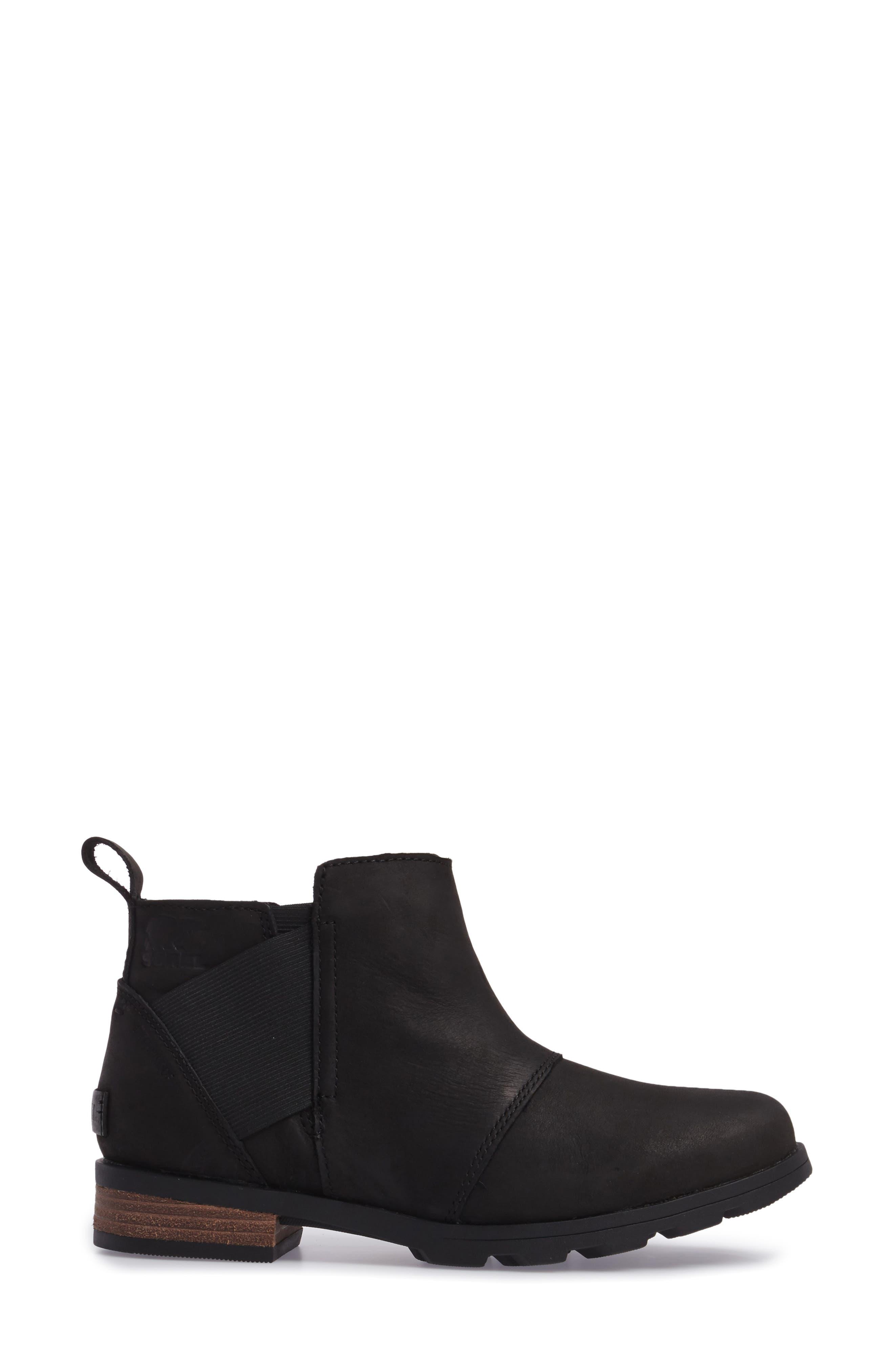 Emelie Waterproof Chelsea Boot,                             Alternate thumbnail 3, color,                             Black/ Black
