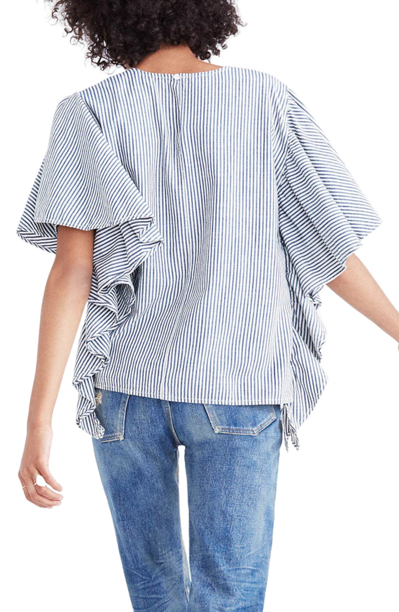 Stripe Butterfly Sleeve Top,                             Alternate thumbnail 2, color,                             Chambray Stripe