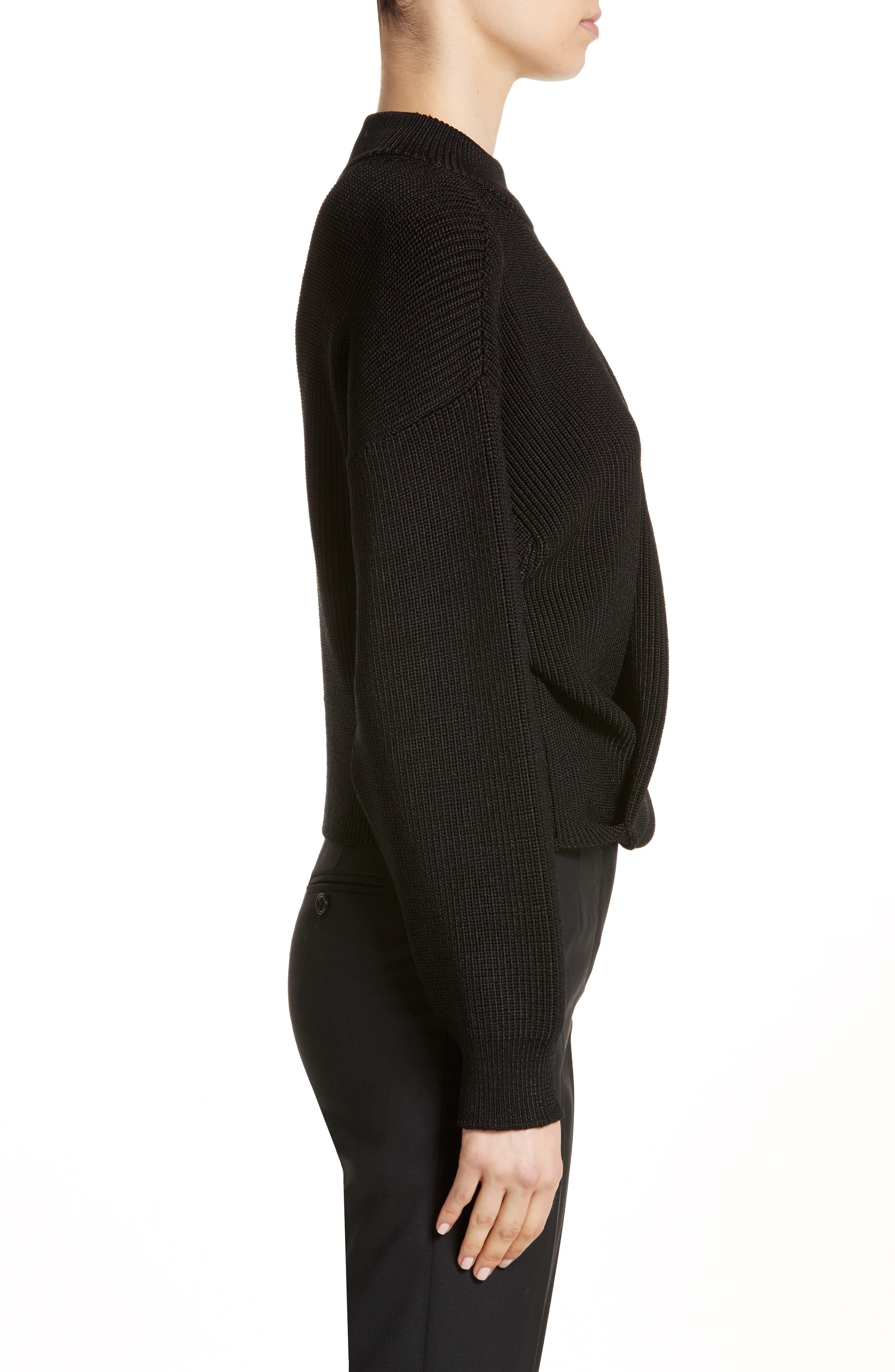 Mock Neck Sweater,                             Alternate thumbnail 3, color,                             Black