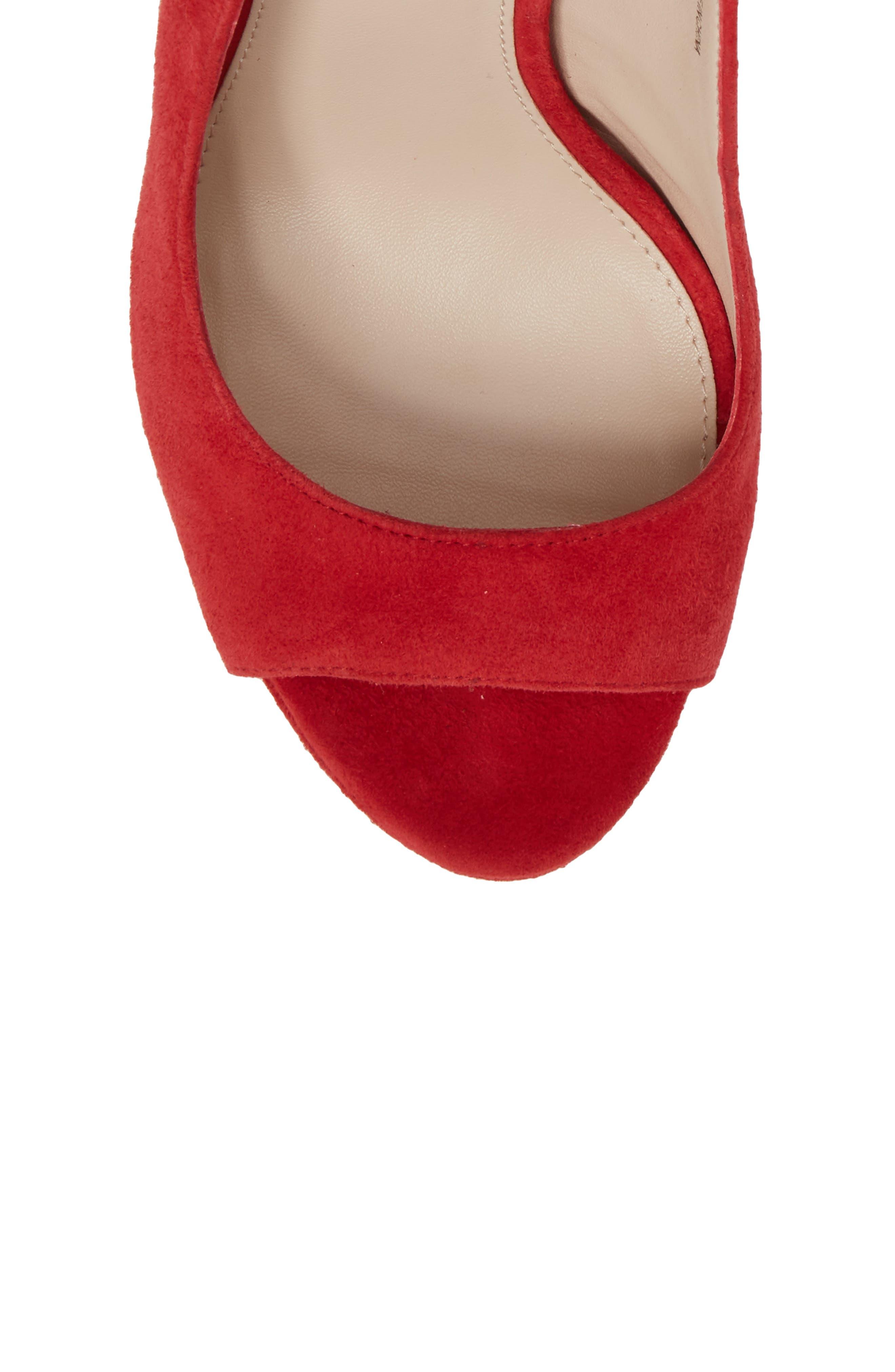 Oana Slingback Platform Sandal,                             Alternate thumbnail 5, color,                             Lipstick Suede