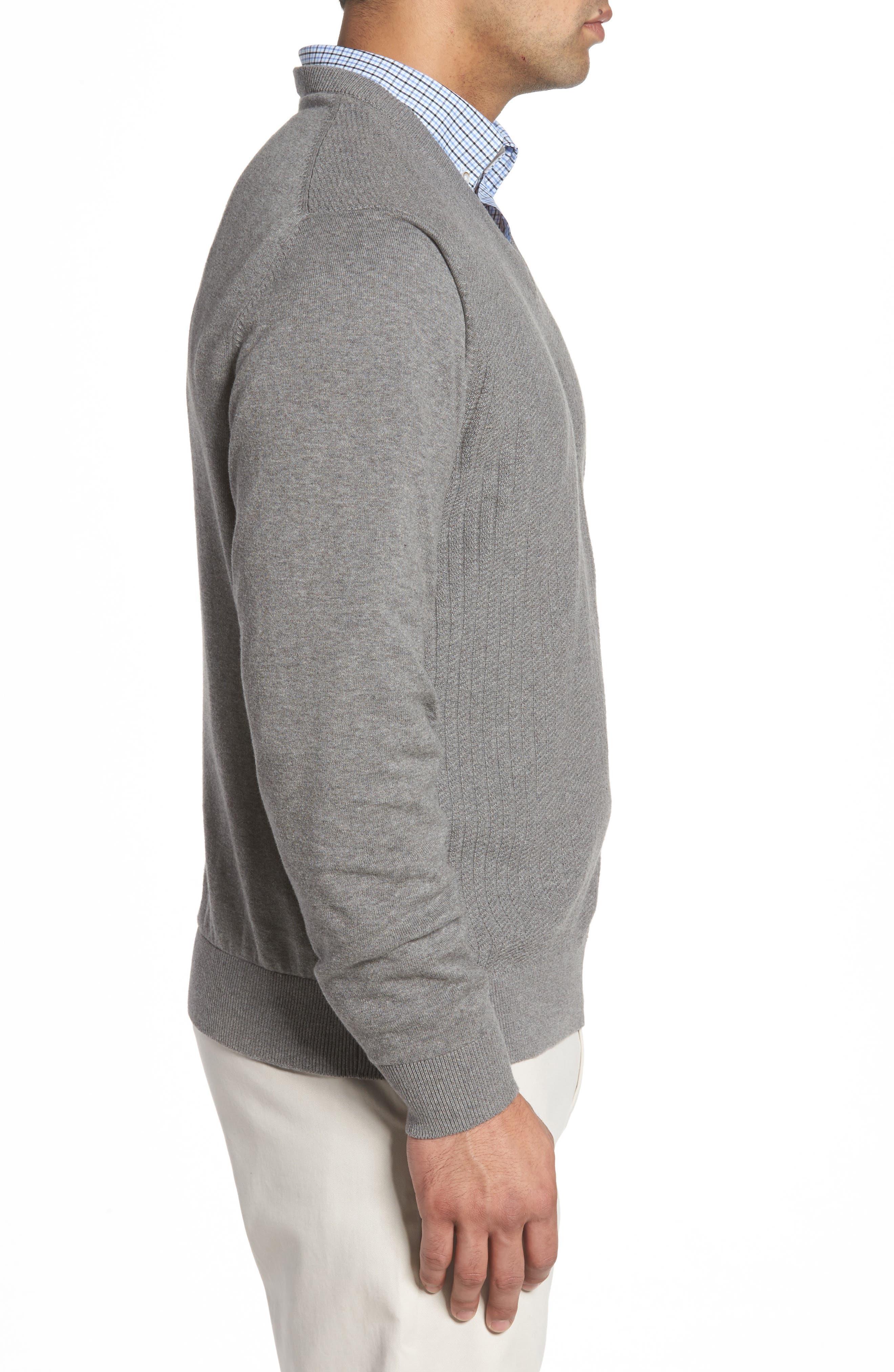 Bryant Rib-Knit V-Neck Sweater,                             Alternate thumbnail 3, color,                             Mid Grey Heather